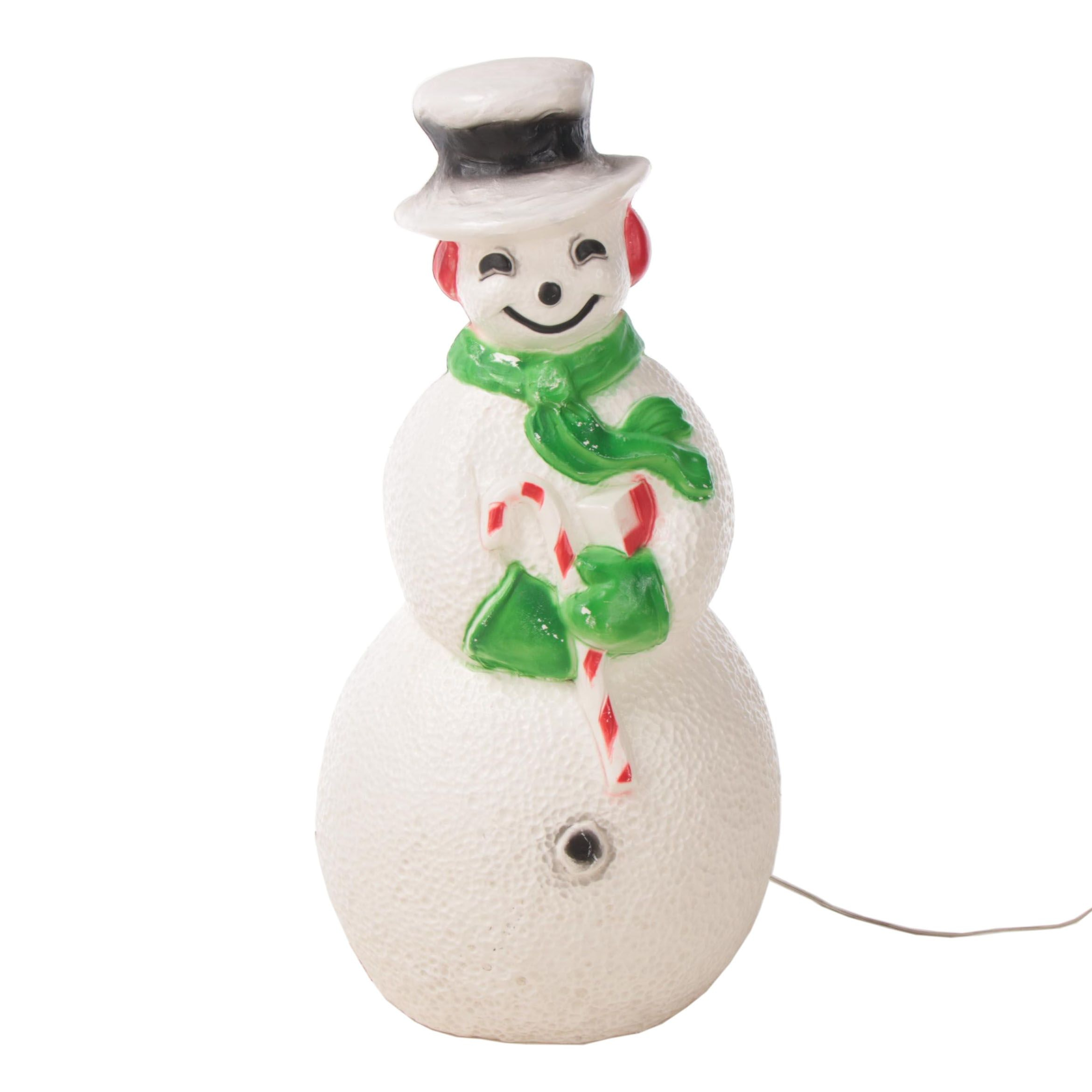 Blow-Mold Plastic Illuminated Snowman Lawn Decoration, Late 20th Century