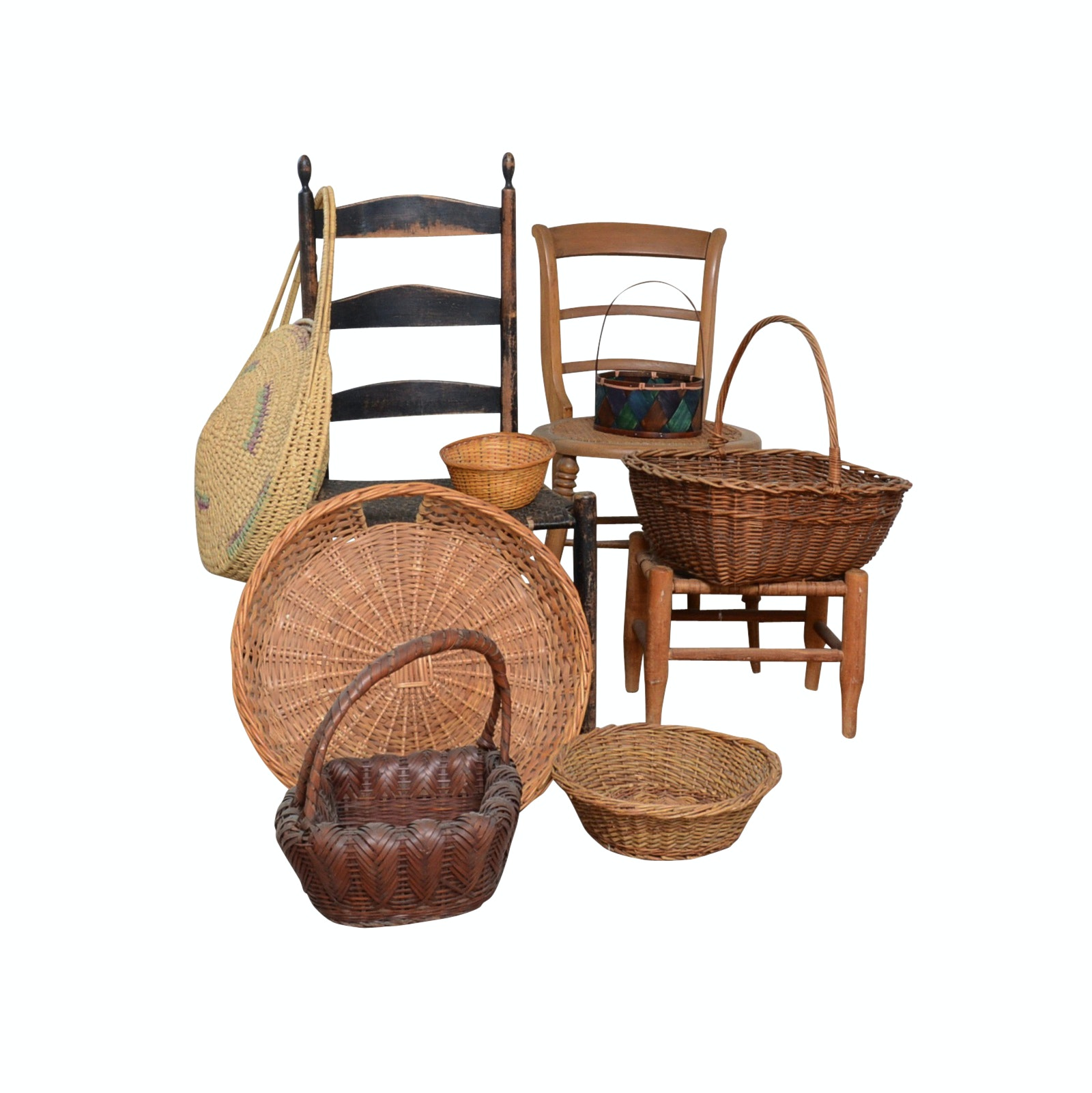 Wooden Side Chairs with Woven Seats and Collection of Baskets