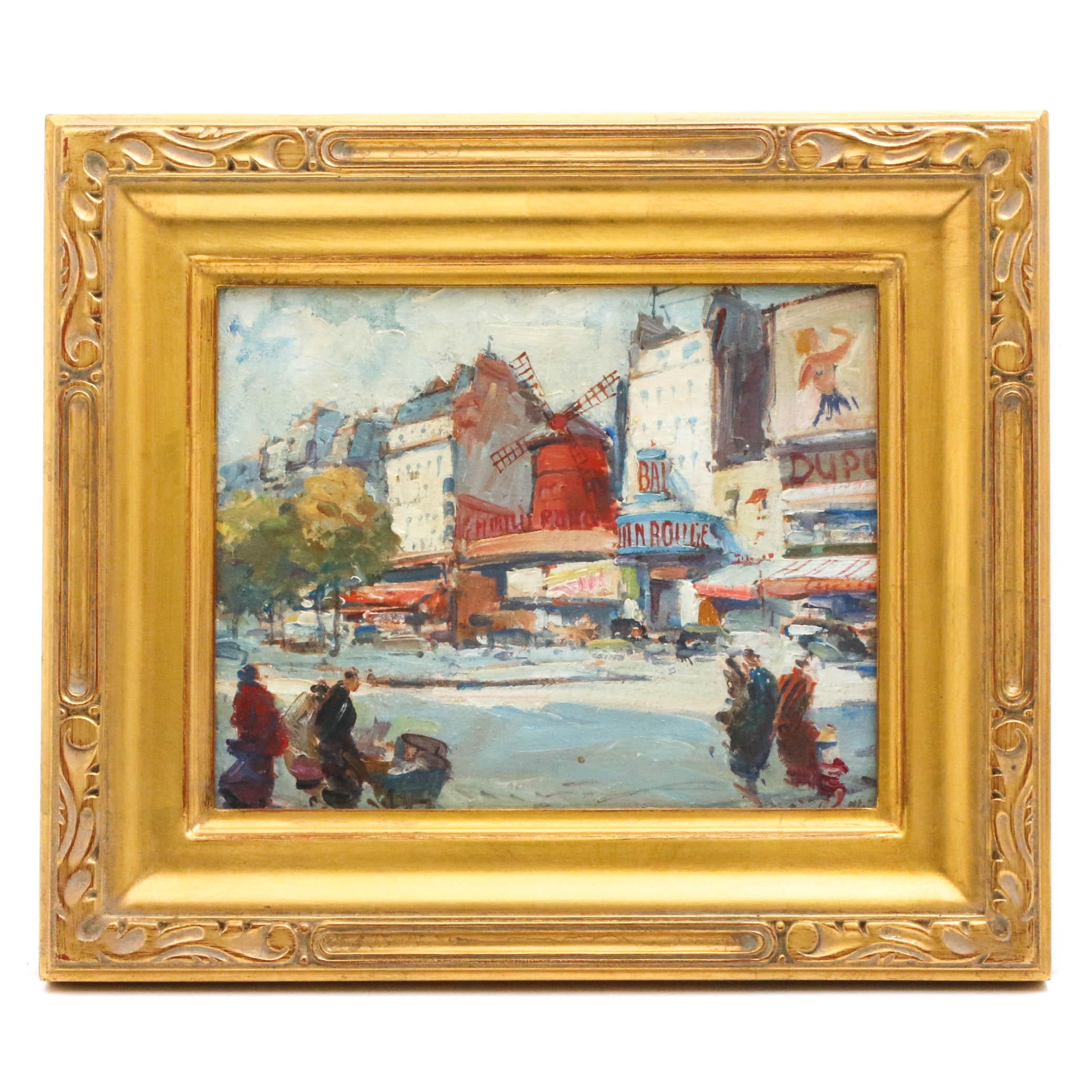 Late 20th Century Oil Painting of the Moulin Rouge