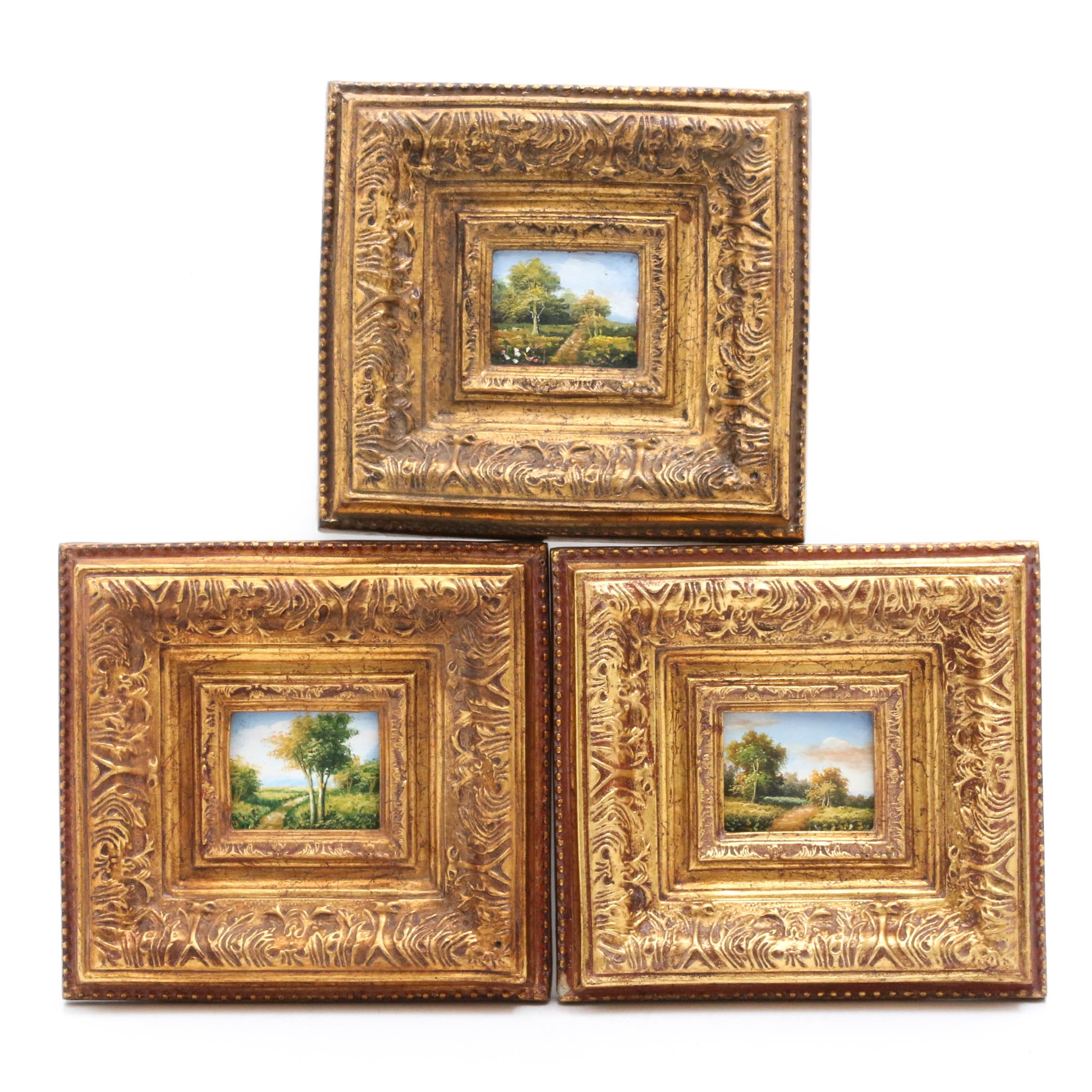 Early-Mid 20th Century Miniature Landscape Oil Paintings