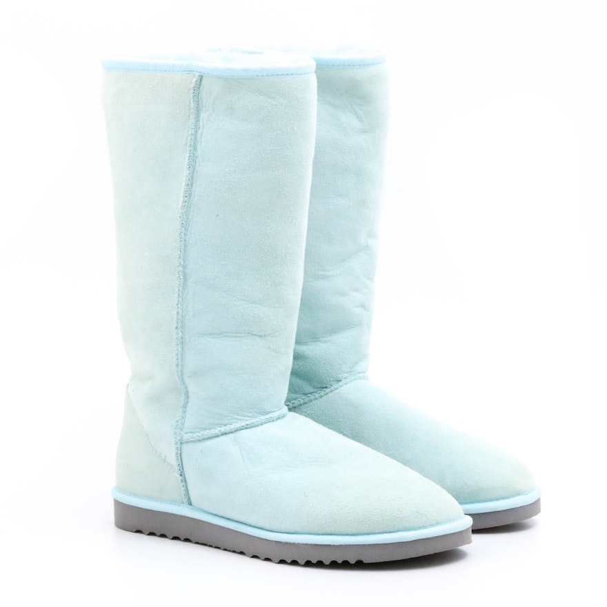 98f0852b7df UGG Australia Light Blue Suede and Shearling Tall Boots