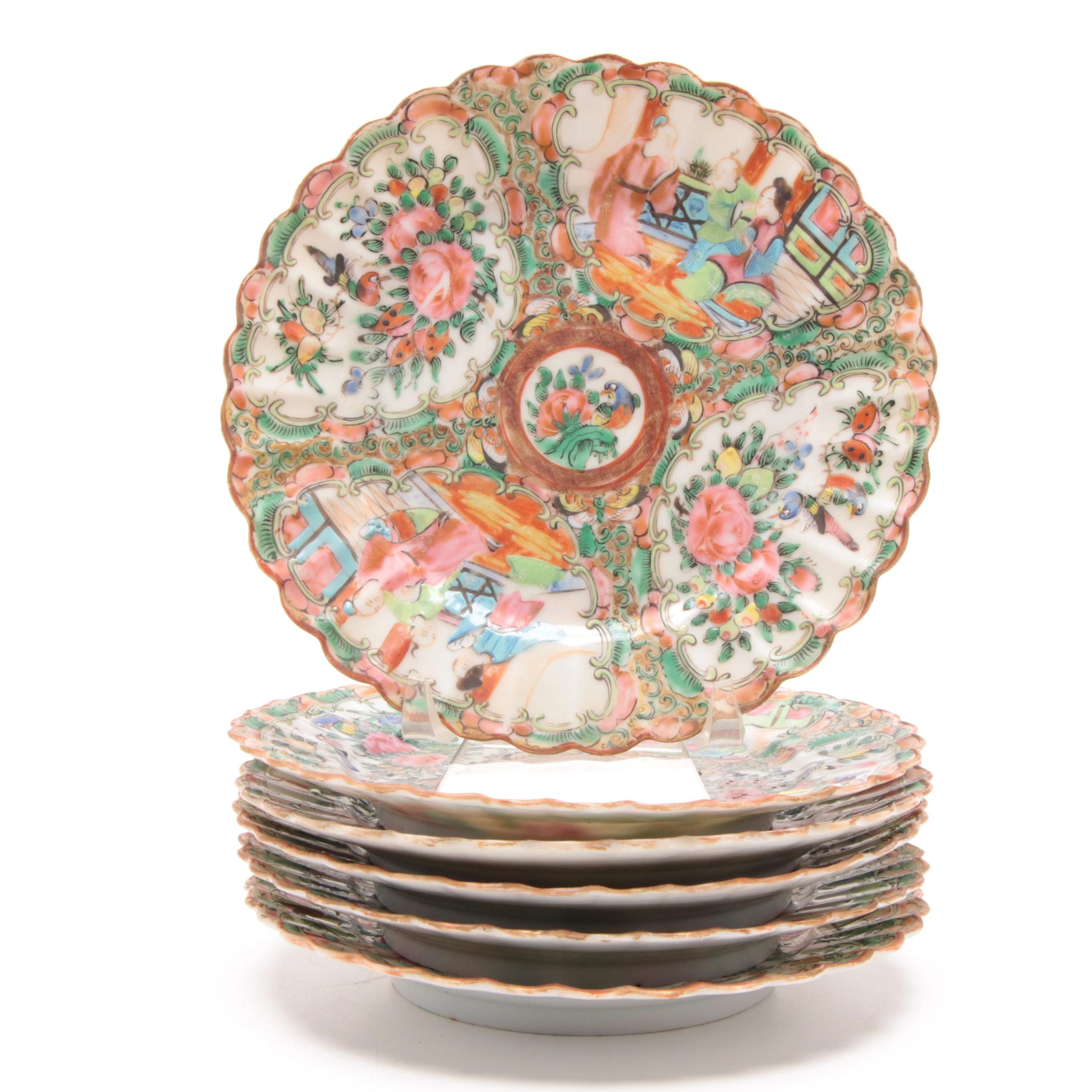 "Chinese ""Rose Medallion"" Scalloped Edge Plates"