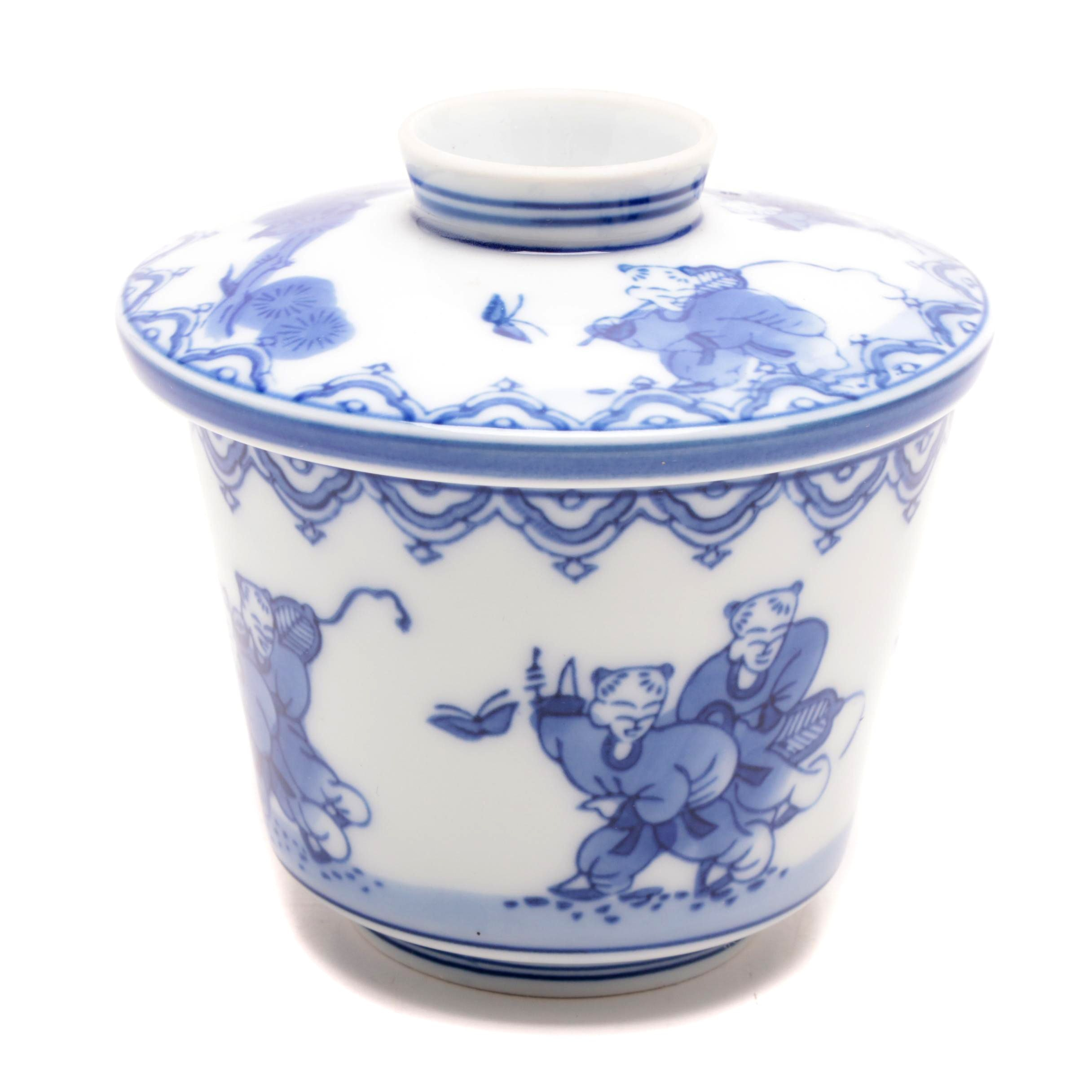 Japanese Nabeshima Blue and White Porcelain Lidded Container