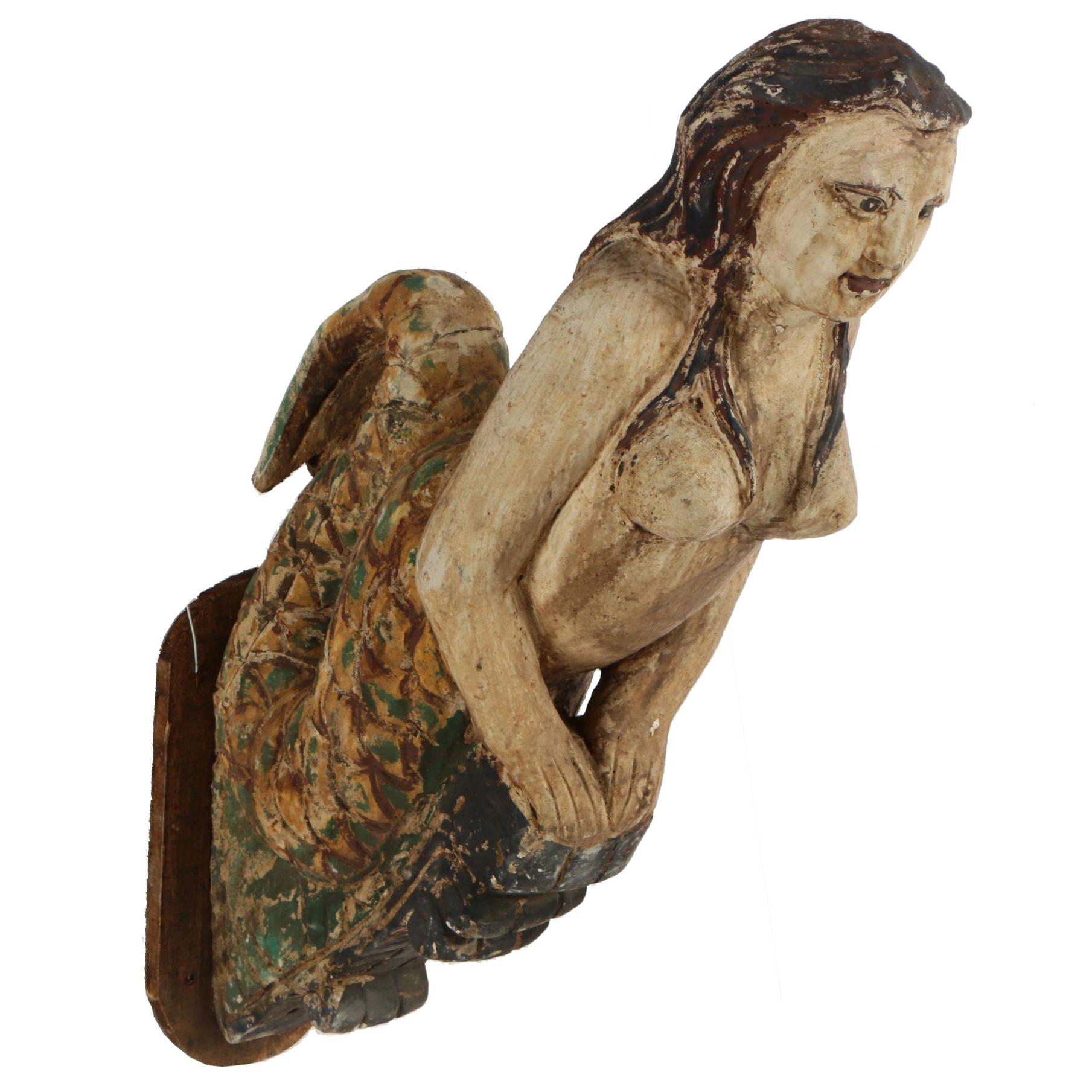 Folk Art Style Carved and Polychromed Wooden Mermaid Figurhead