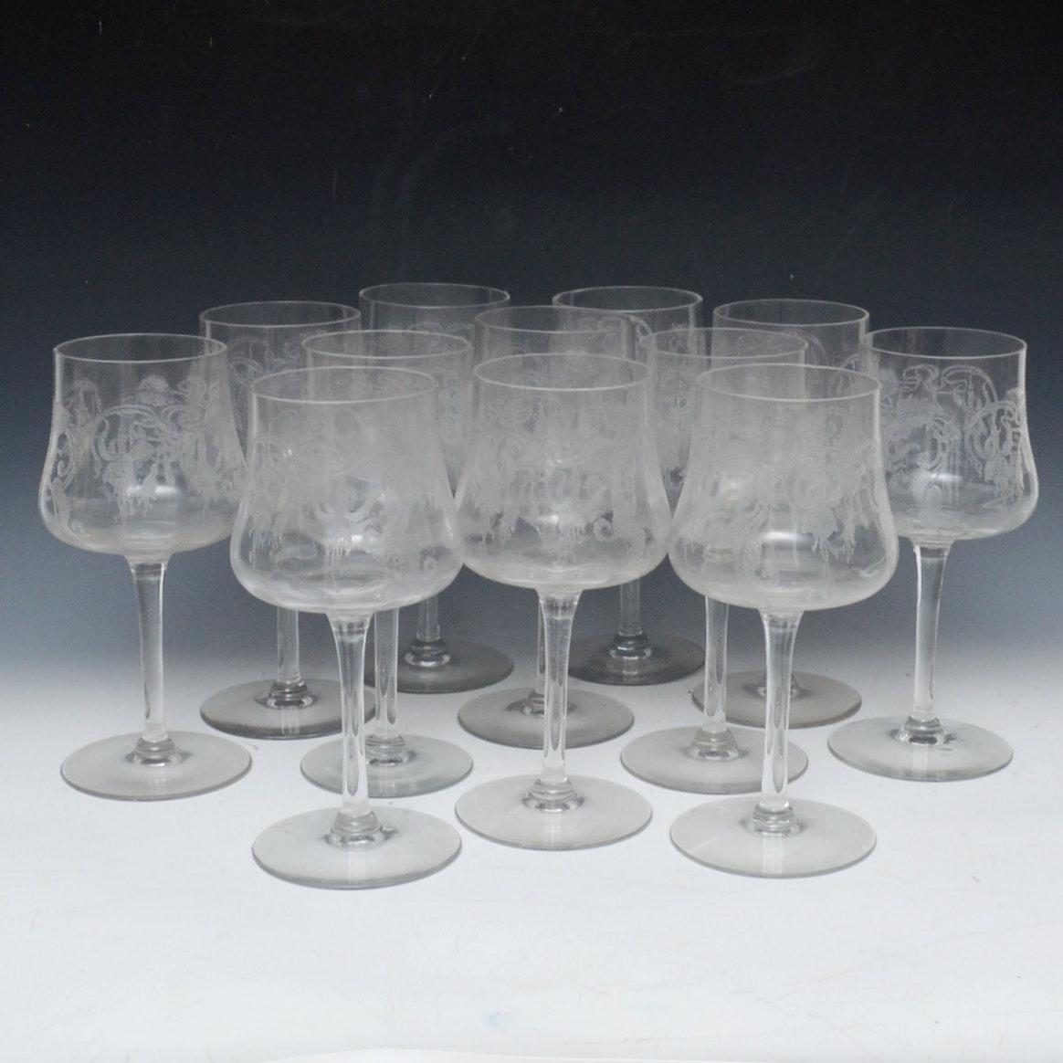 """Marjorie"" Cambridge Glass Company Blown Glass Water Goblets, Circa 1927"