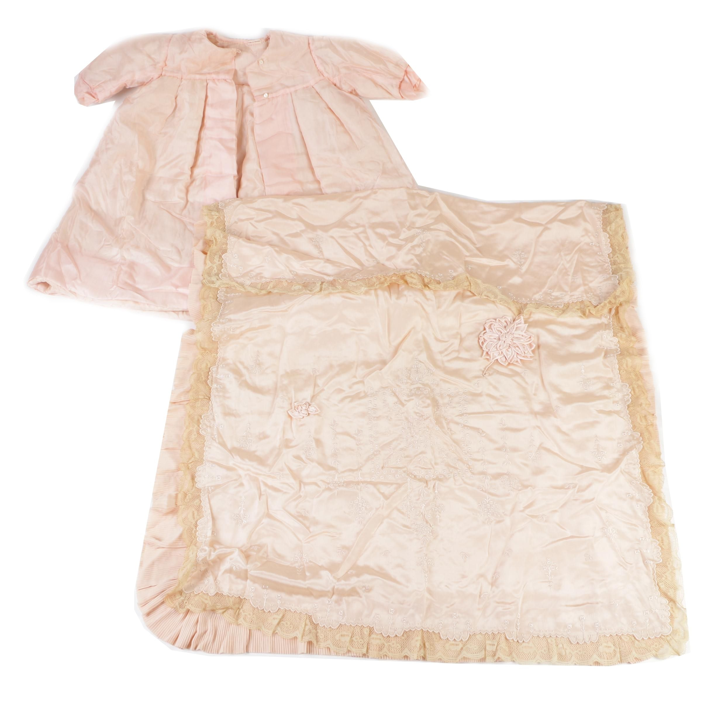 Infant Pink Silk Pram Coat and Blanket, Made in France, circa 1920