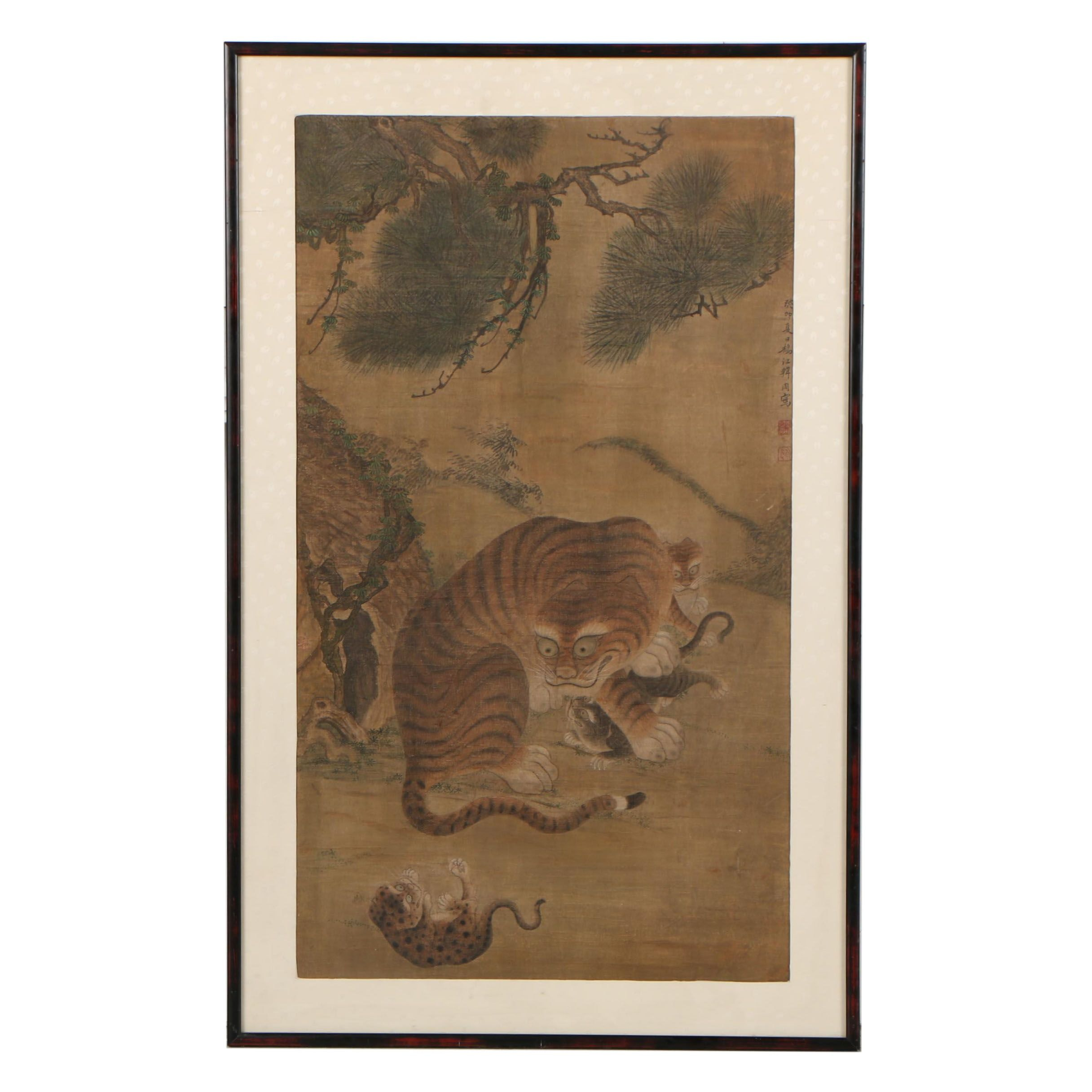 Korean Watercolor on Silk of Tiger and Cubs, 18th-19th Century