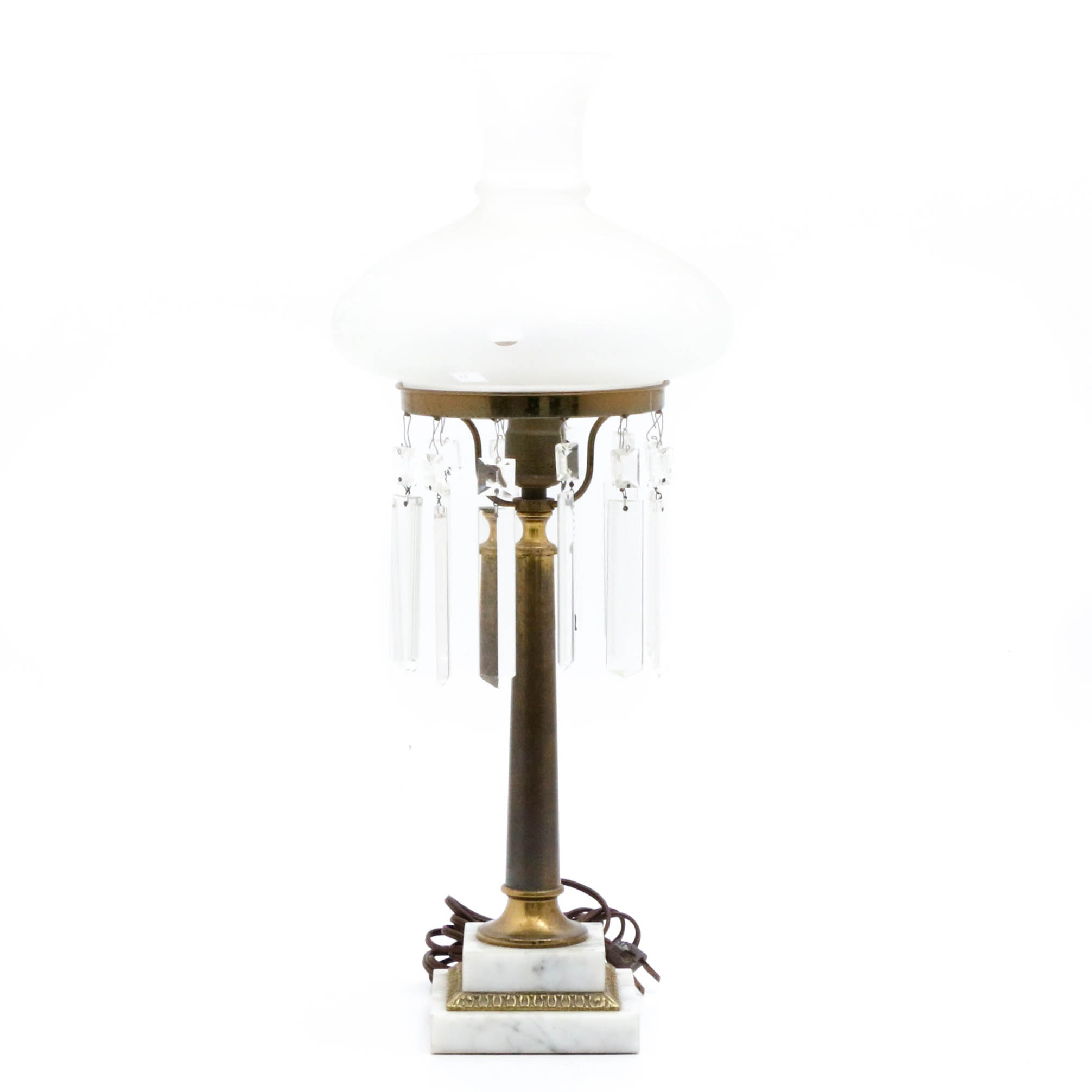 Brass and Marble Hanging Crystal Table Lamp with Frosted Glass Shade
