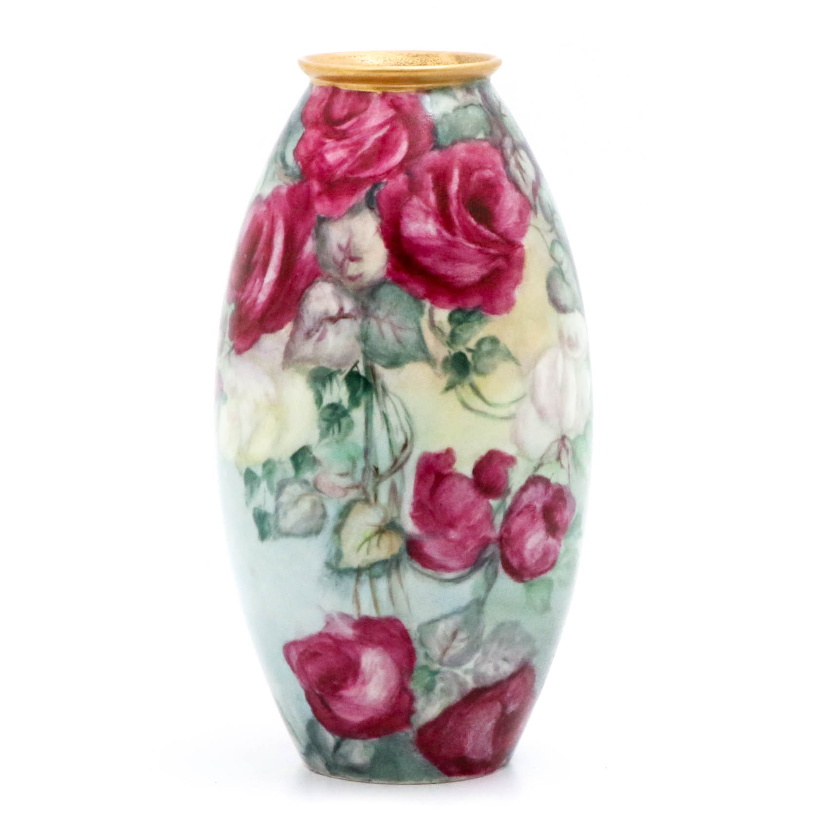 Belleek Willets Hand-Painted Roses Vase, Early 20th Century