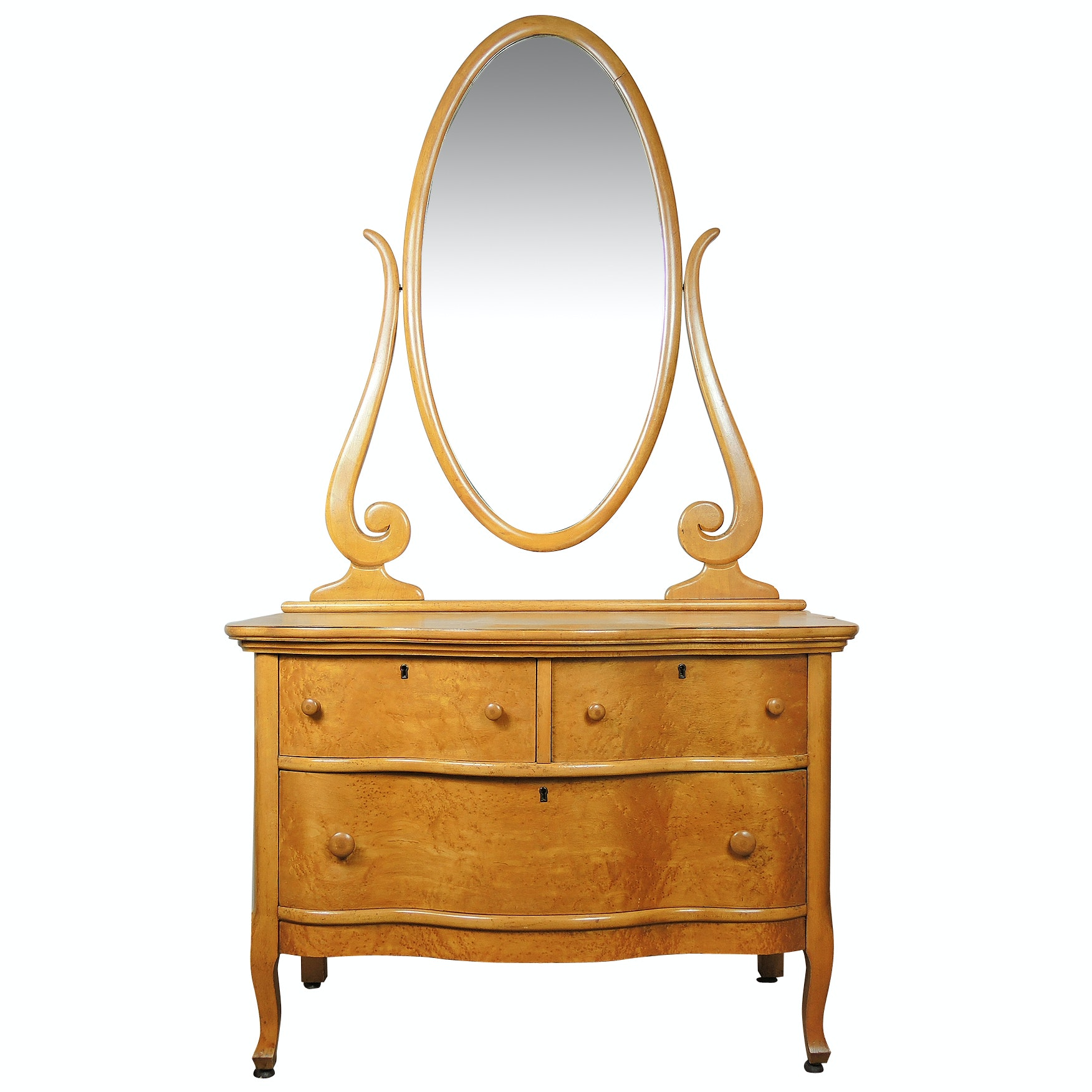 Late Victorian Birdseye Maple Dresser with Mirror by Upham Mfg. Early 20th c.