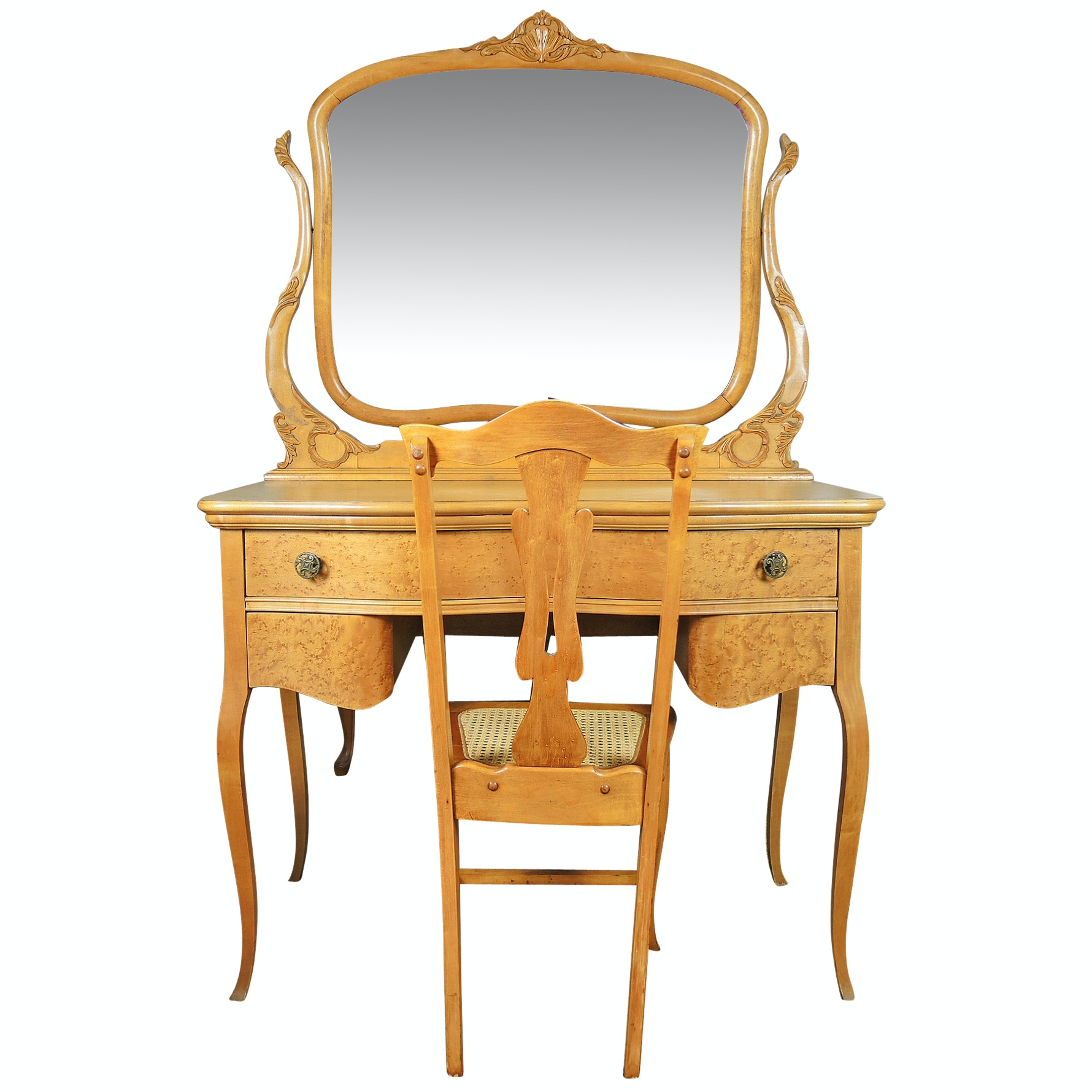 Birdseye Maple Dressing Table and Chair Early Twentieth Century