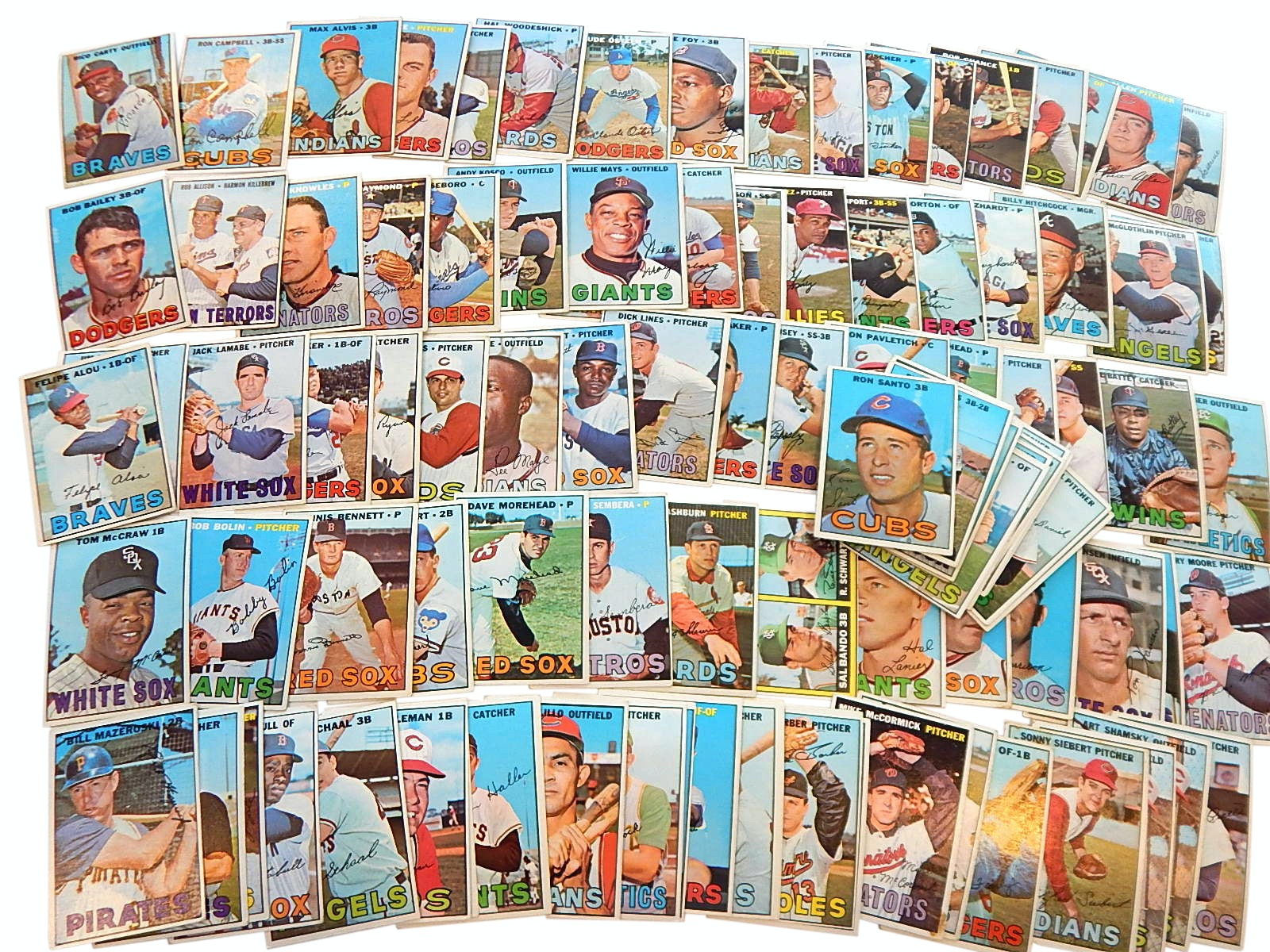 1967 Topps Baseball Card Collection with Santo, Mays, Killebrew and More