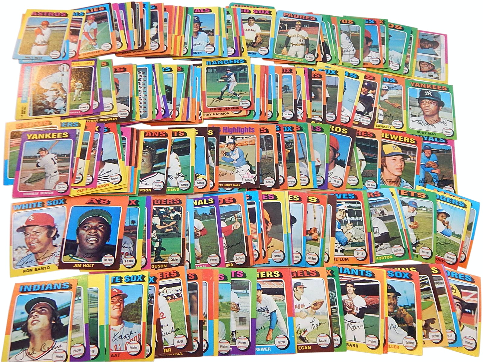 1975 Topps Baseball Card Collection with Munson, Aaron, Jenkins and More