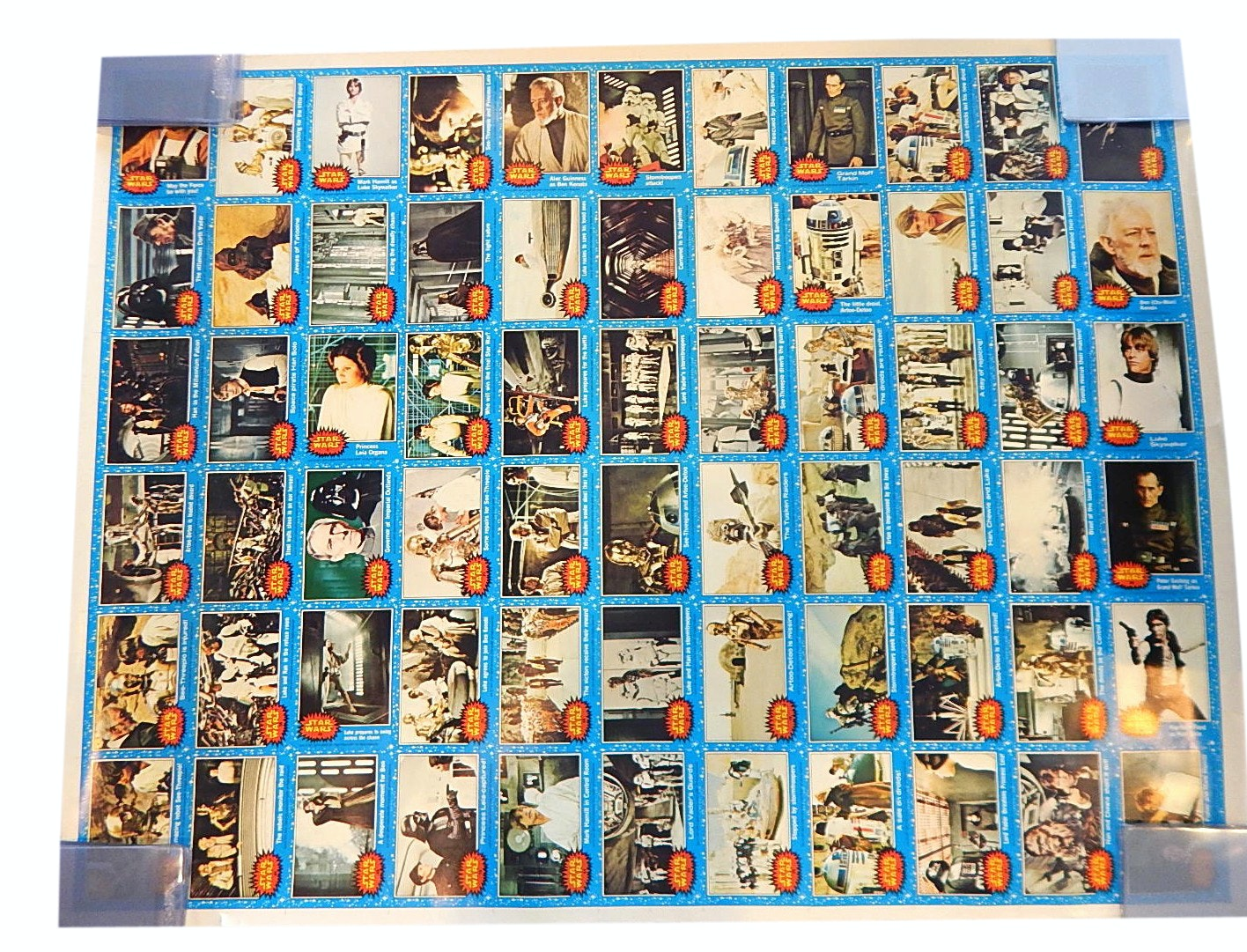 "1977 ""Star Wars"" Un-Cut Trading Card Sheet with Luke Skywalker, Hans Solo, More"