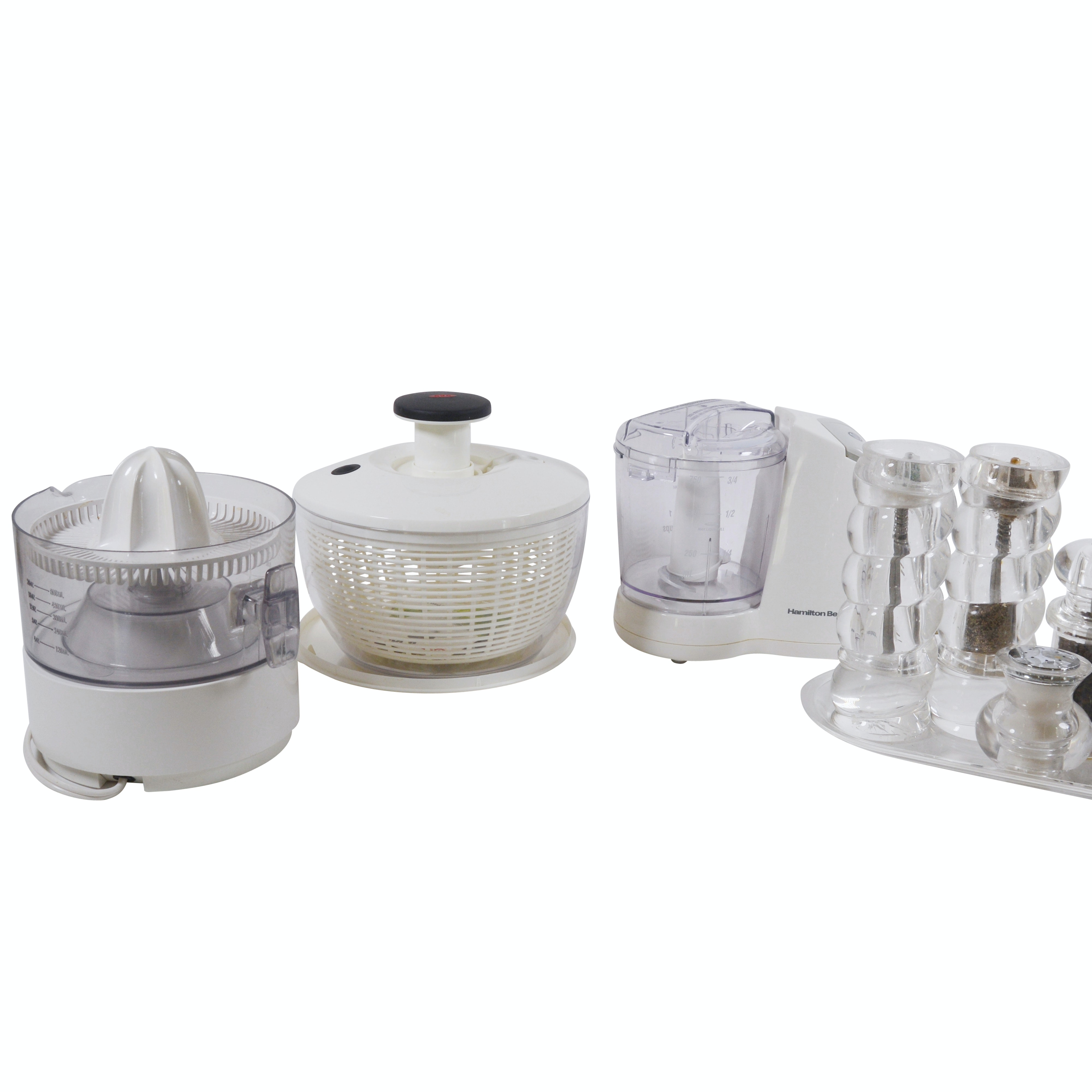 Small Kitchen Appliances Including Salad Spinner and Juicer