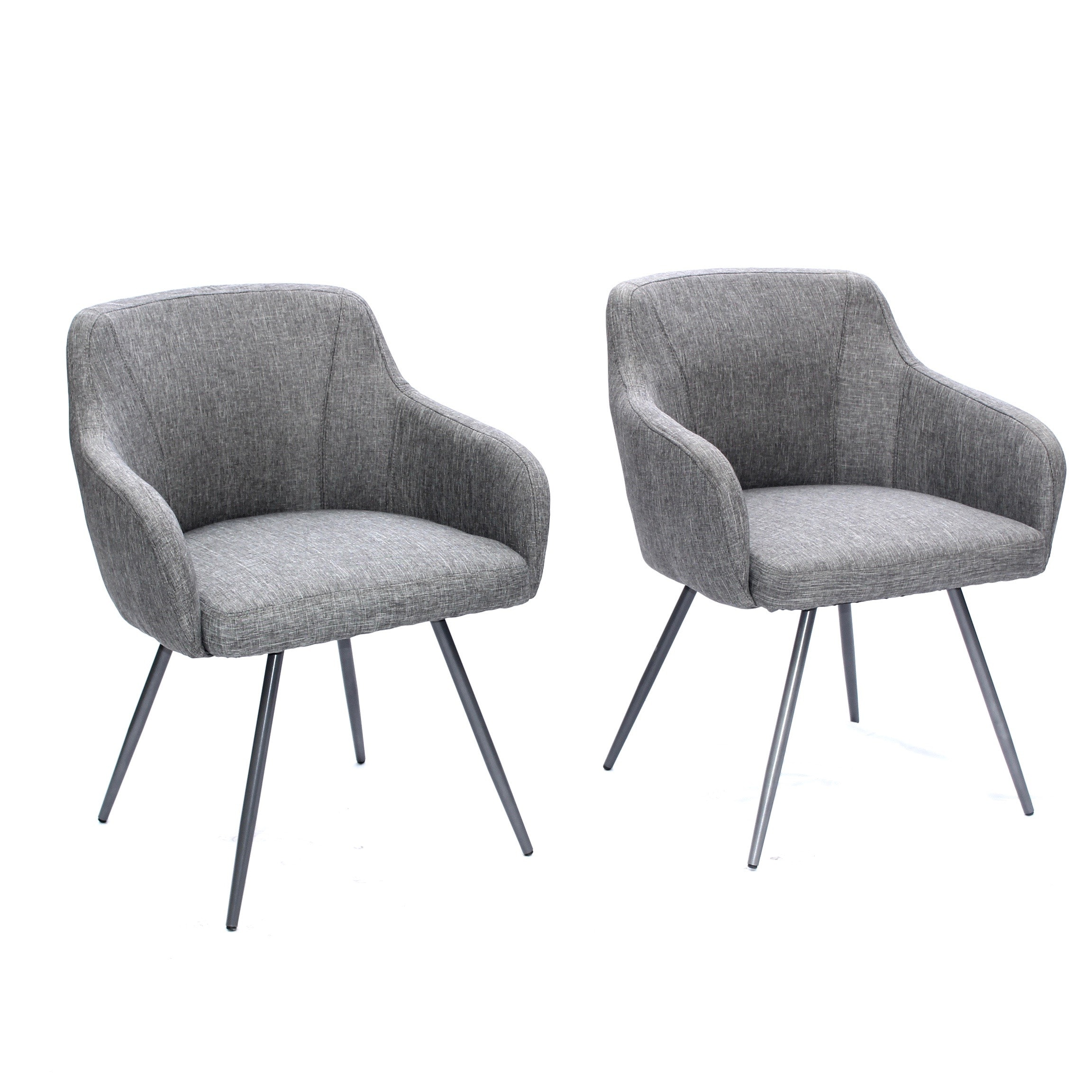 Two Mid-Century Modern Style Gray Upholstered Arm Chairs, Contemporary