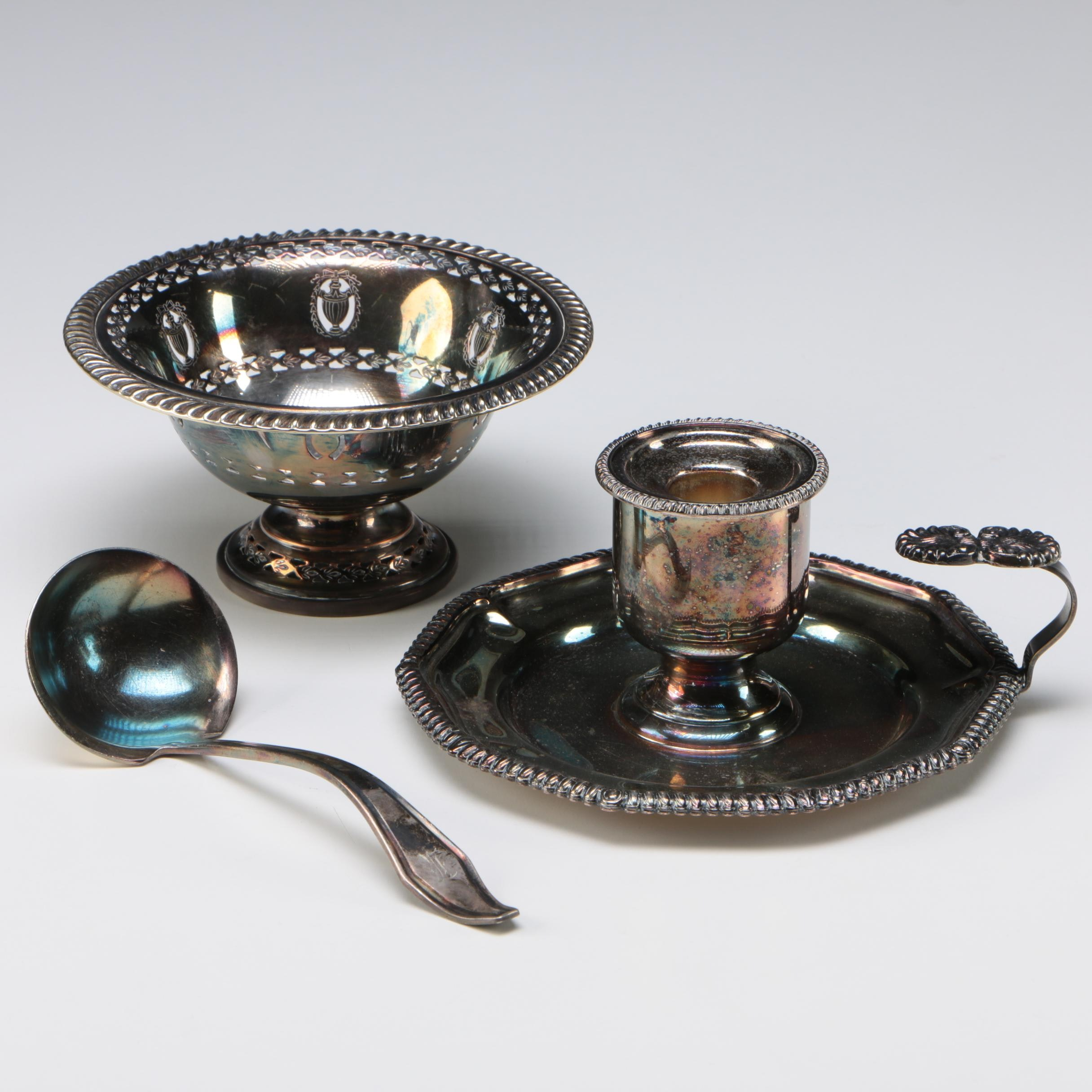 Victoria Silver Plate Chamberstick with Blagden, Hodgson & Co Compote