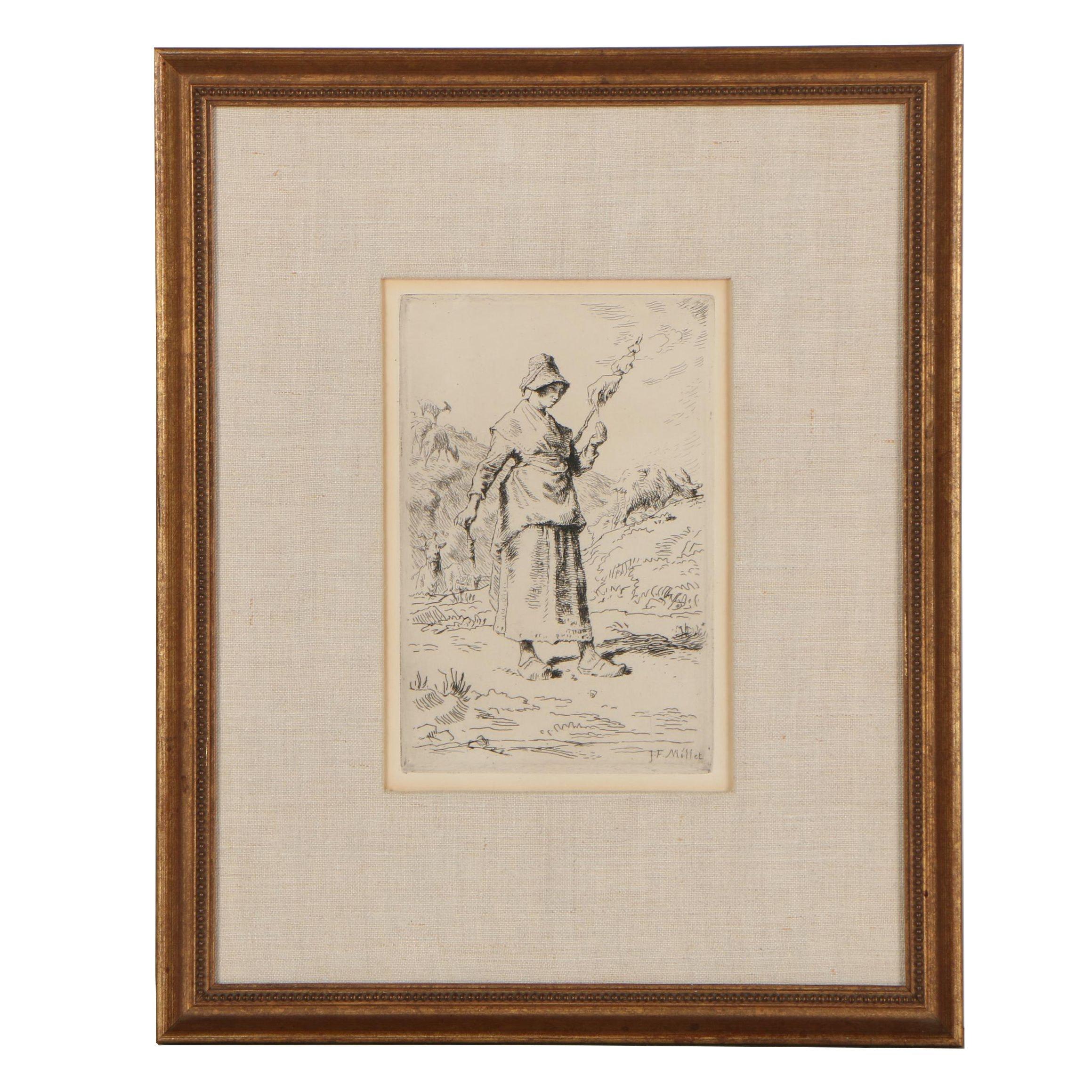"Jean François Millet 1868 Etching ""Auvergnat Goatherd Spinning"""