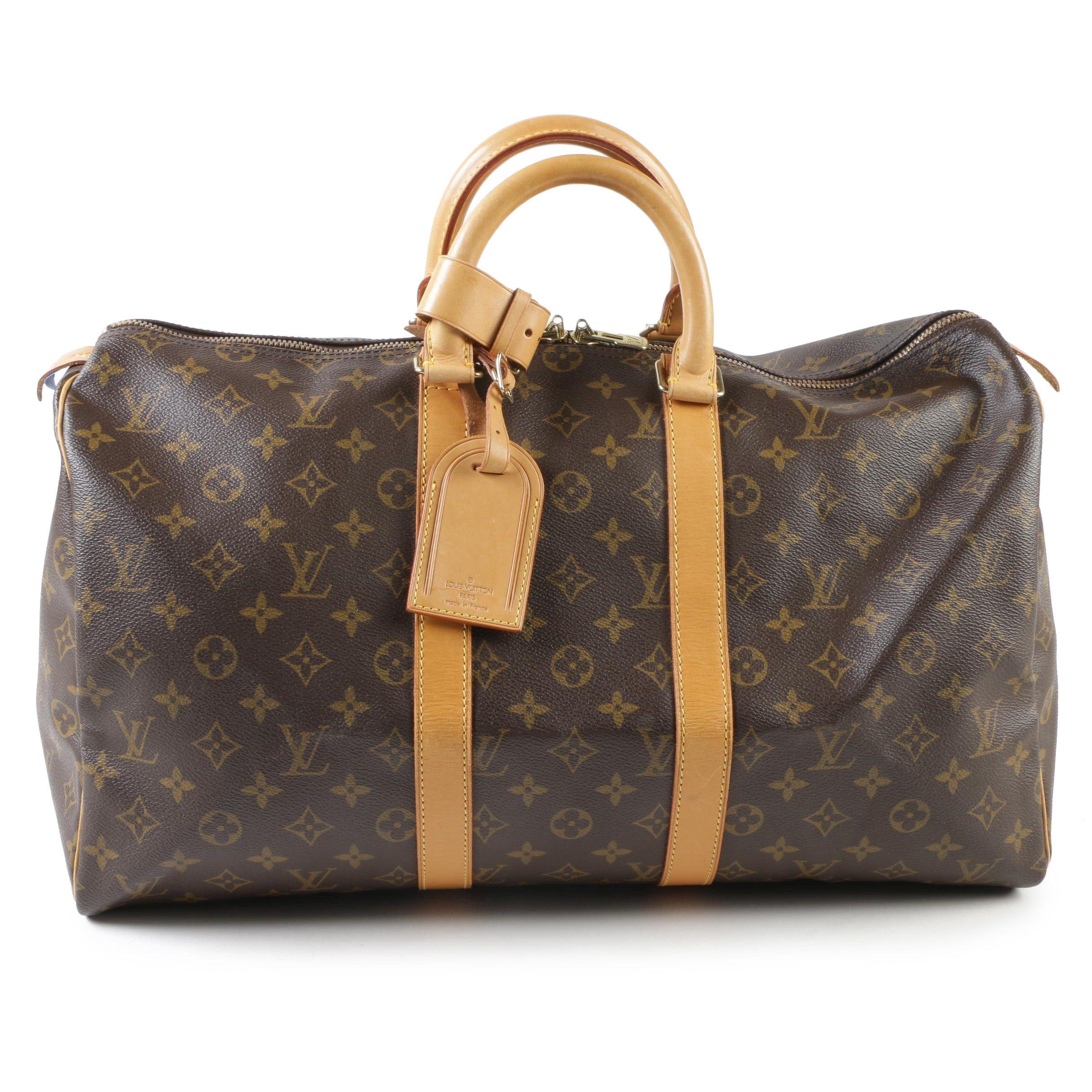 Louis Vuitton Paris Monogram Canvas Keepall 45 Duffel Bag, Made in France
