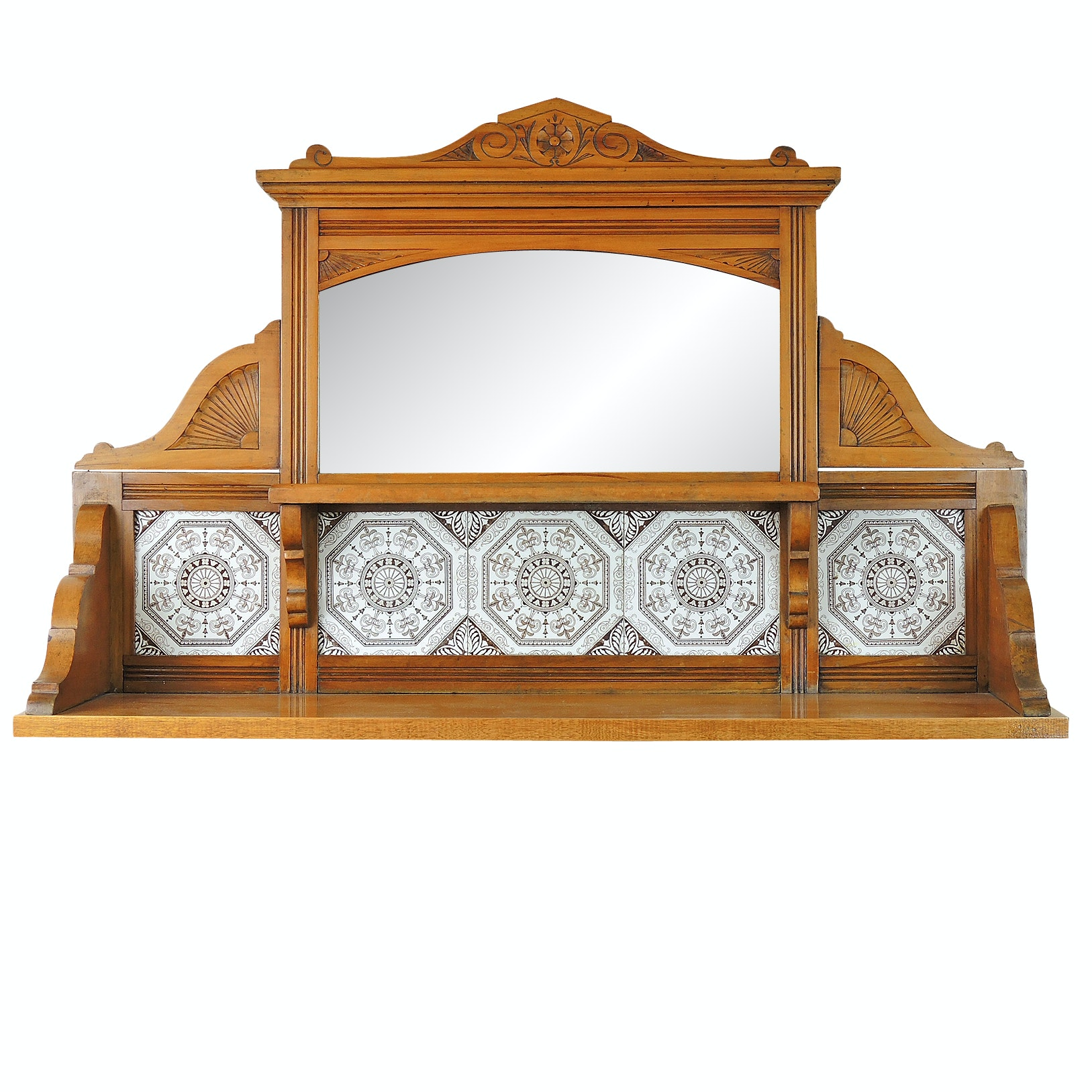 Eastlake Style Mirrored Wall Shelf with Tile Inserts