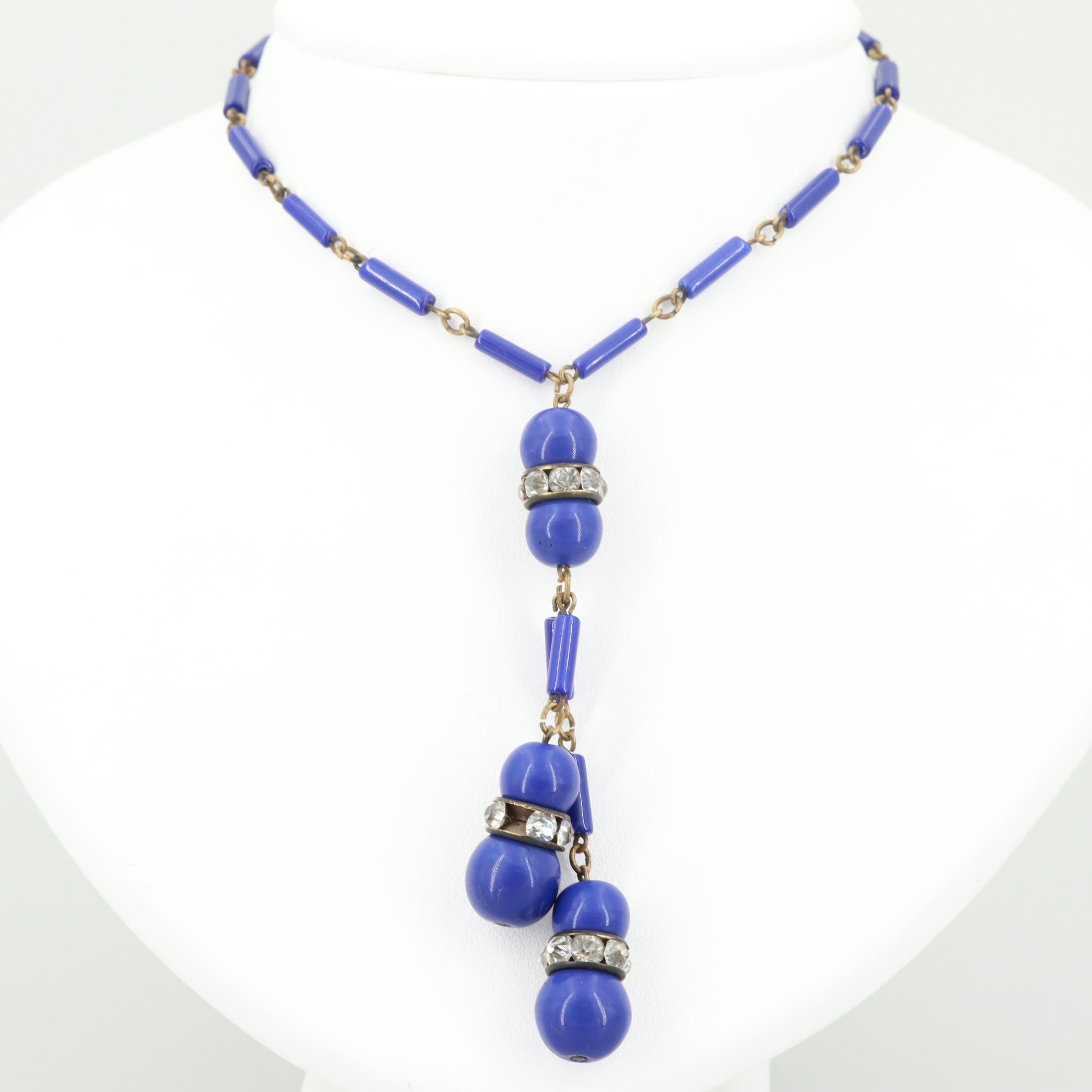 Art Deco Gold Tone Imitation Lapis Lazuli and Glass Sautoir Necklace