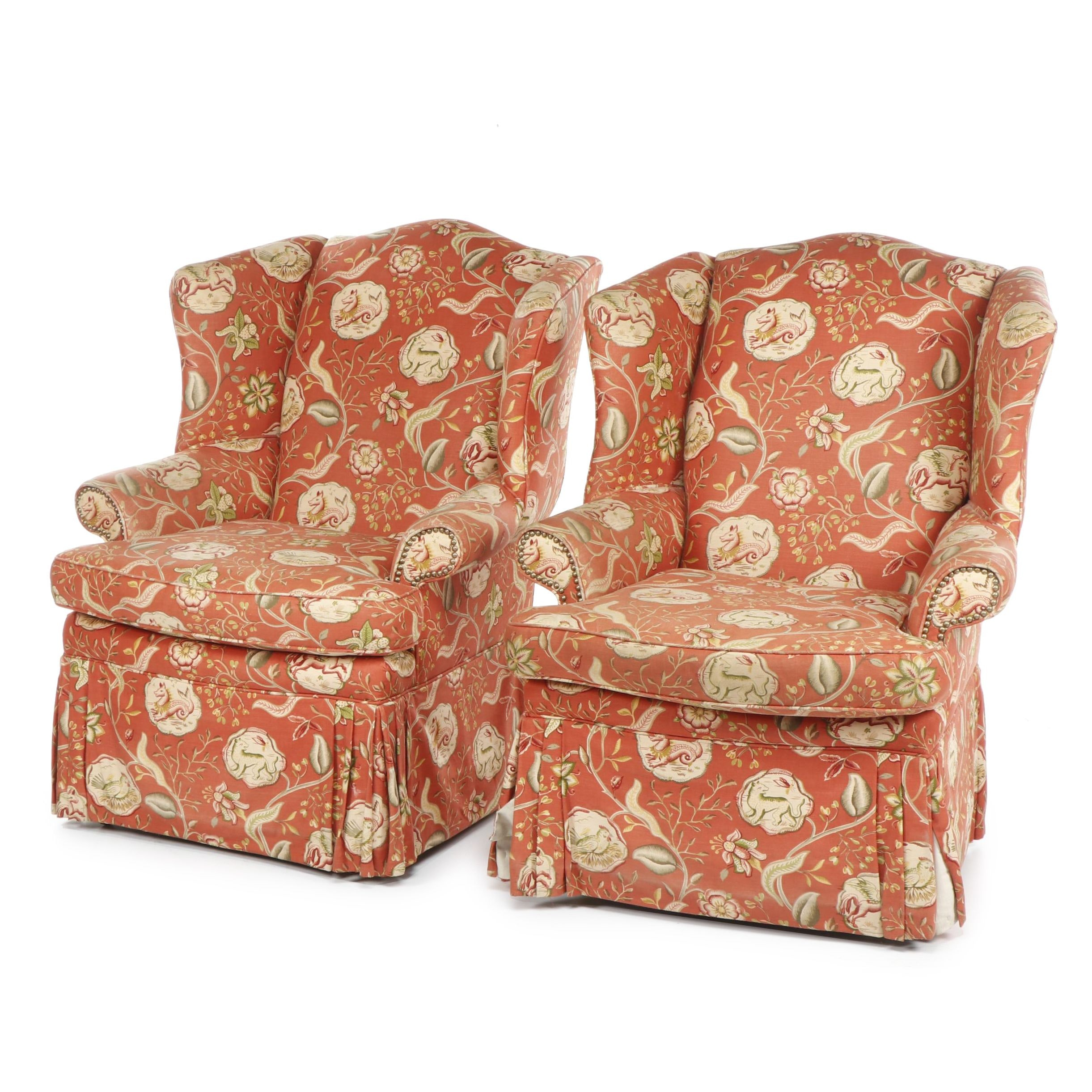 Upholstered Wing Back Armchairs on Casters
