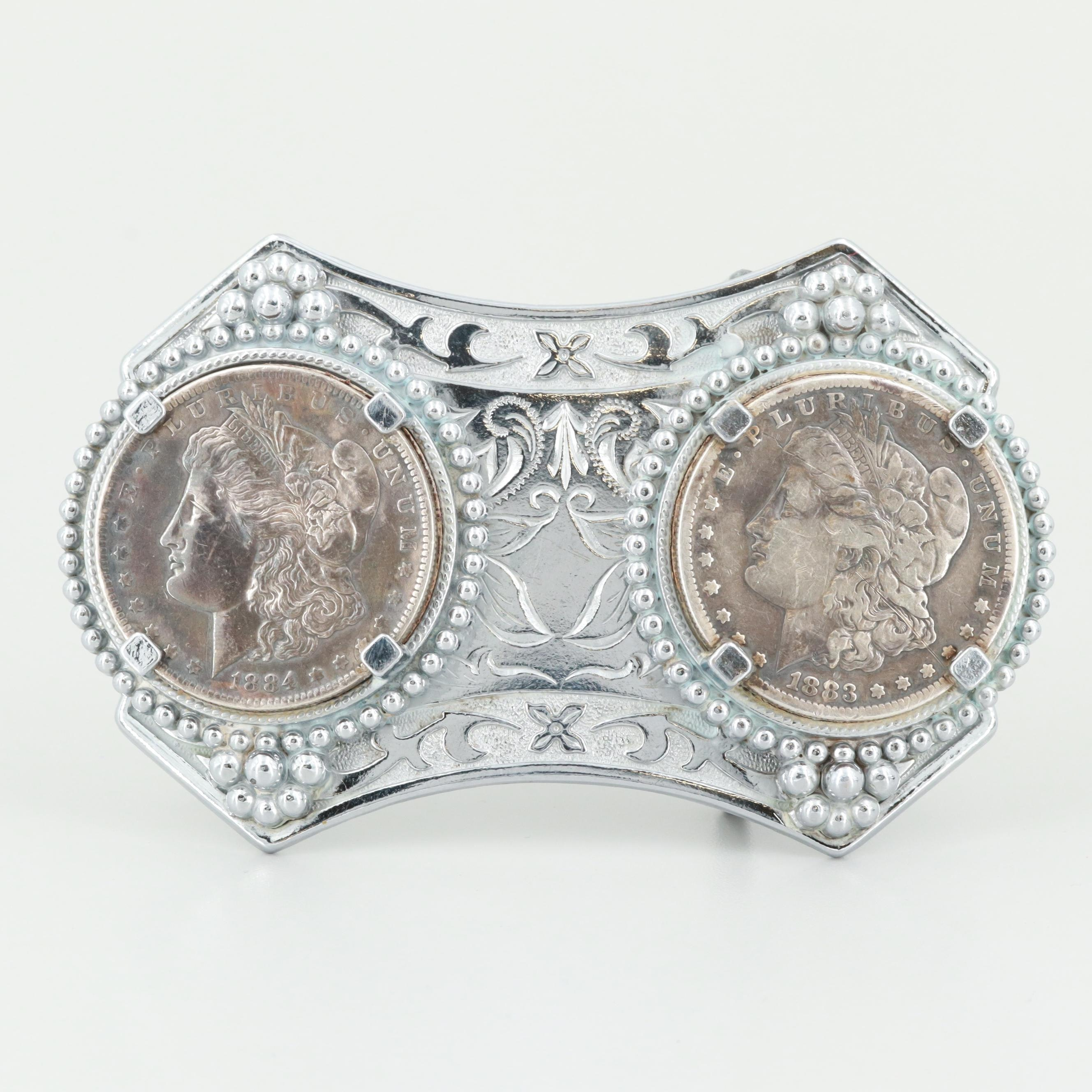 Silver Tone Belt Buckle with 1883 and 1884 Morgan Silver Dollars