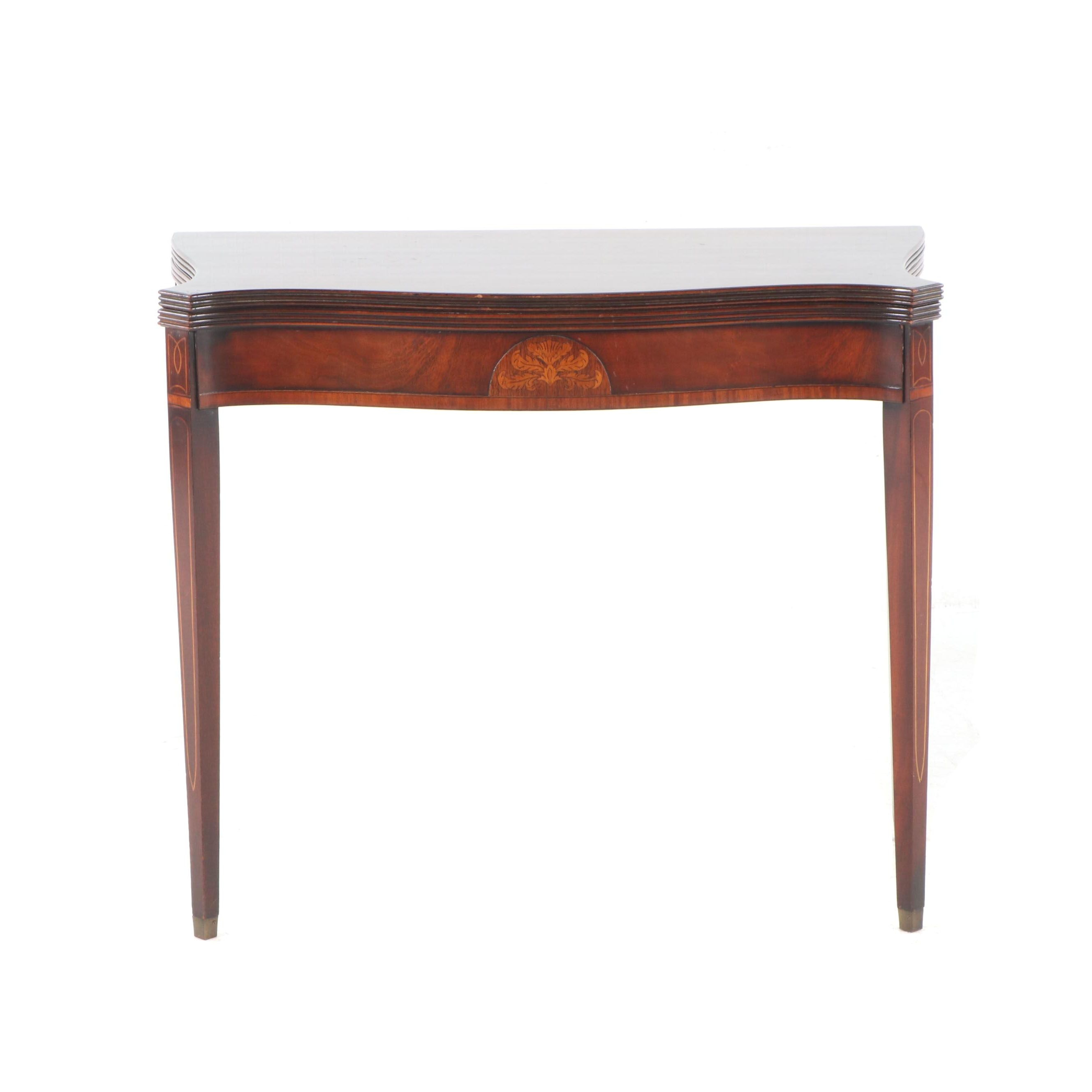 Inlaid Mahogany Hepplewhite Style Game Table, Mid 20th Century