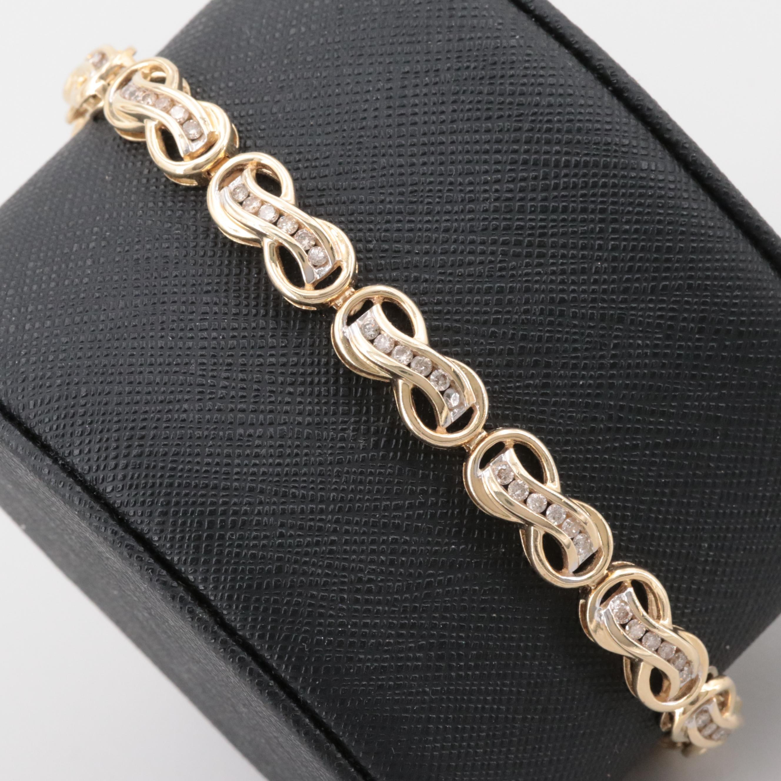 14K Yellow Gold 1.65 CTW Diamond Infinity Link Bracelet