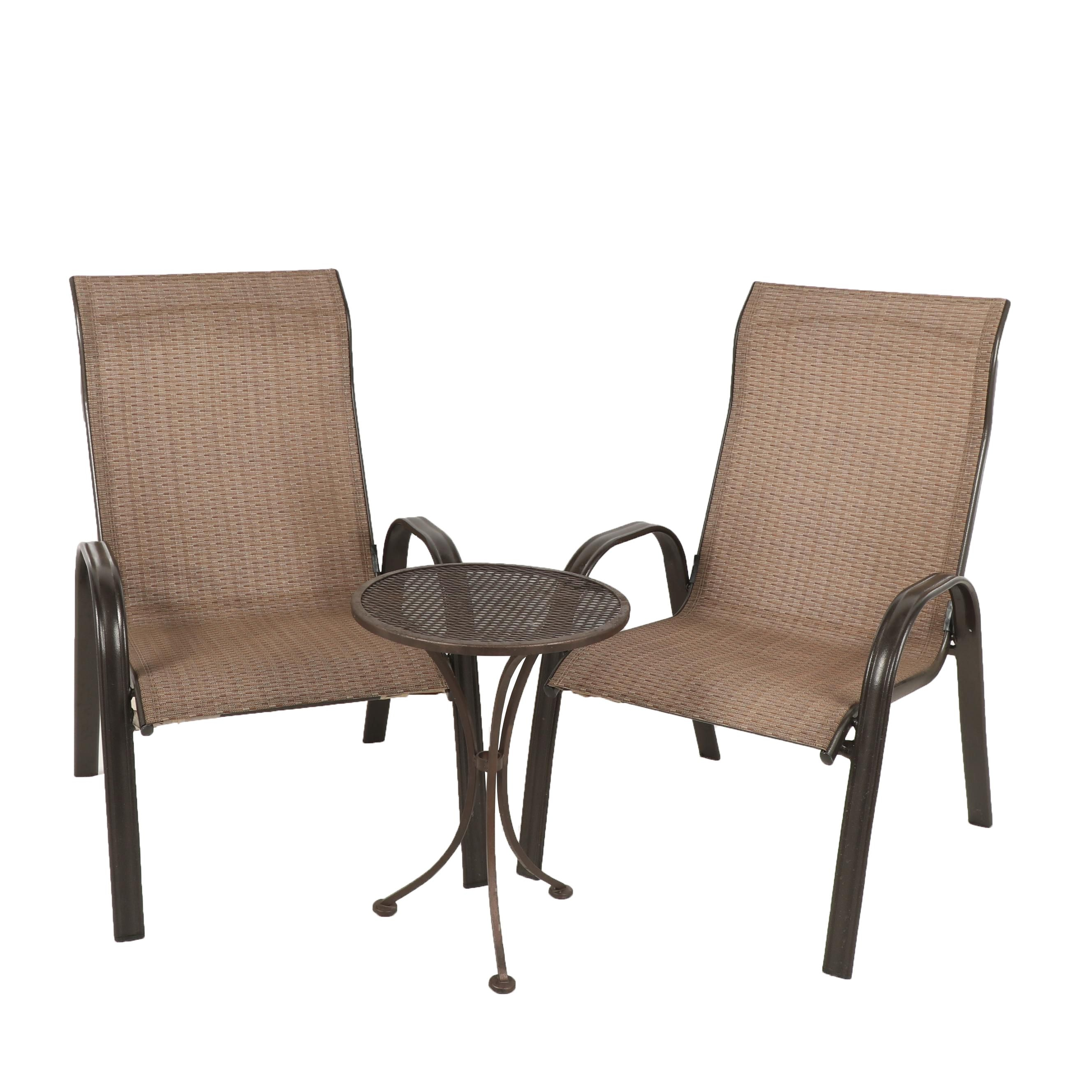 Pair of Patio Chairs with Accent Table