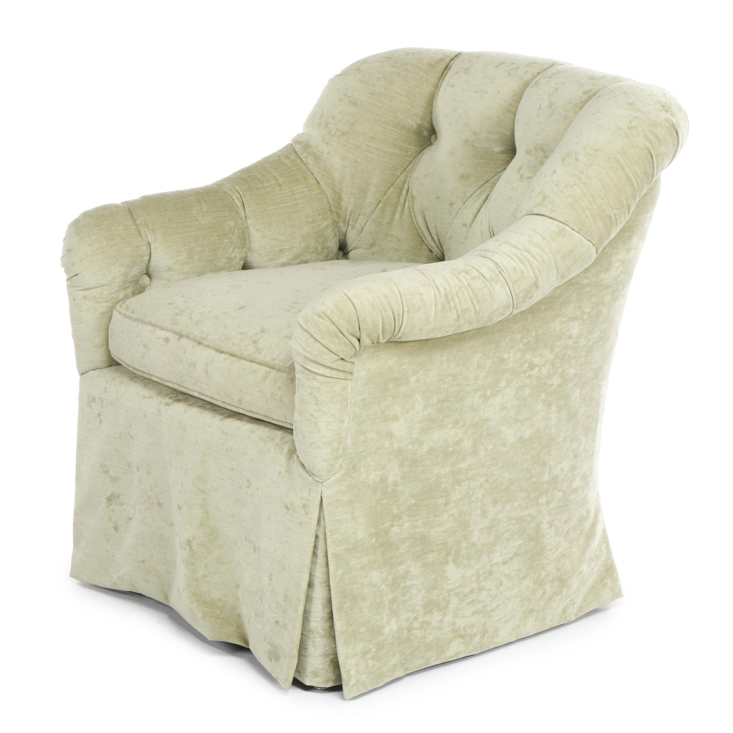 Contemporary Button-Tufted Armchair with Green Velvet Upholstery