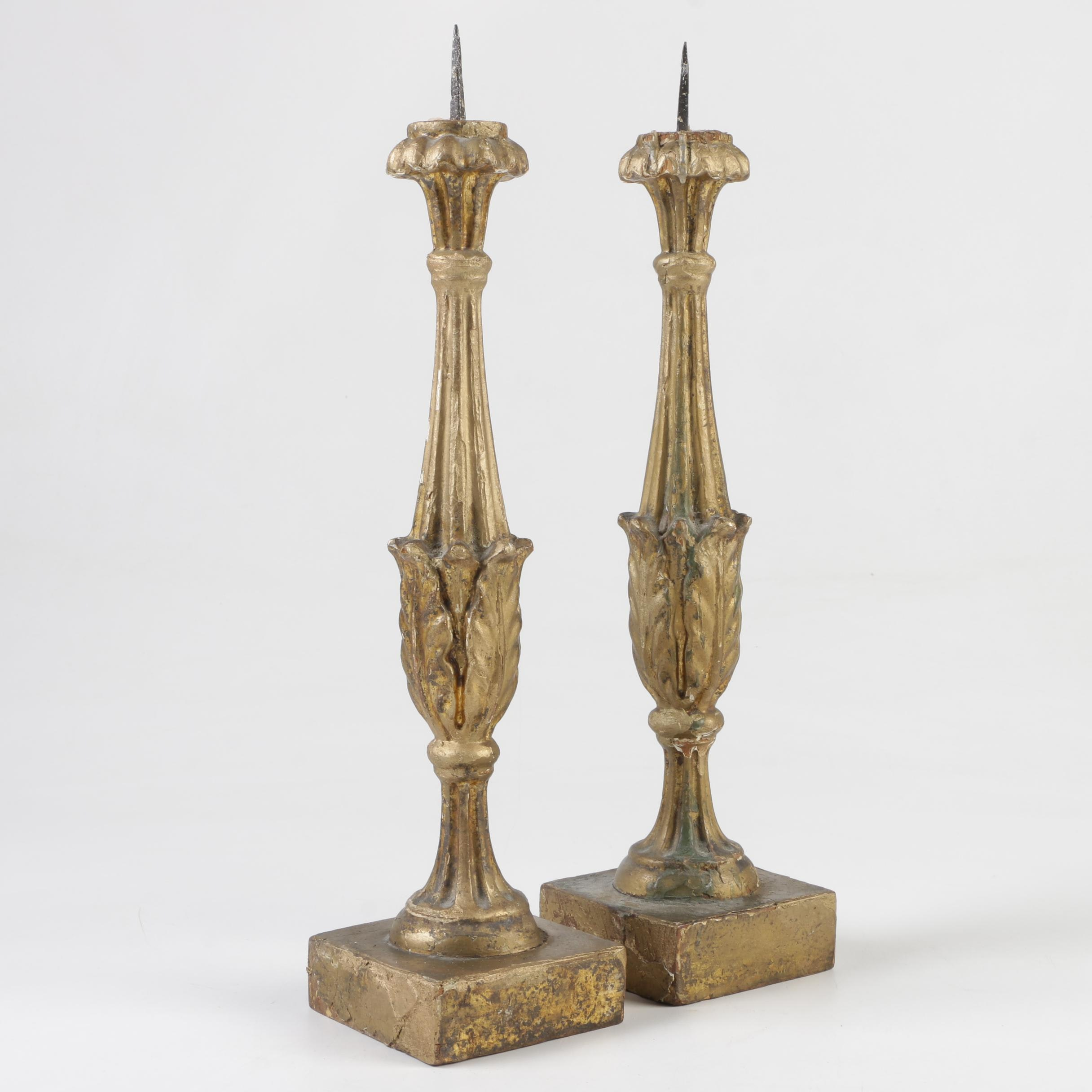 Italian Gilt-Painted Wood Pricket Candlesticks, Late 18th to Early 19th Century