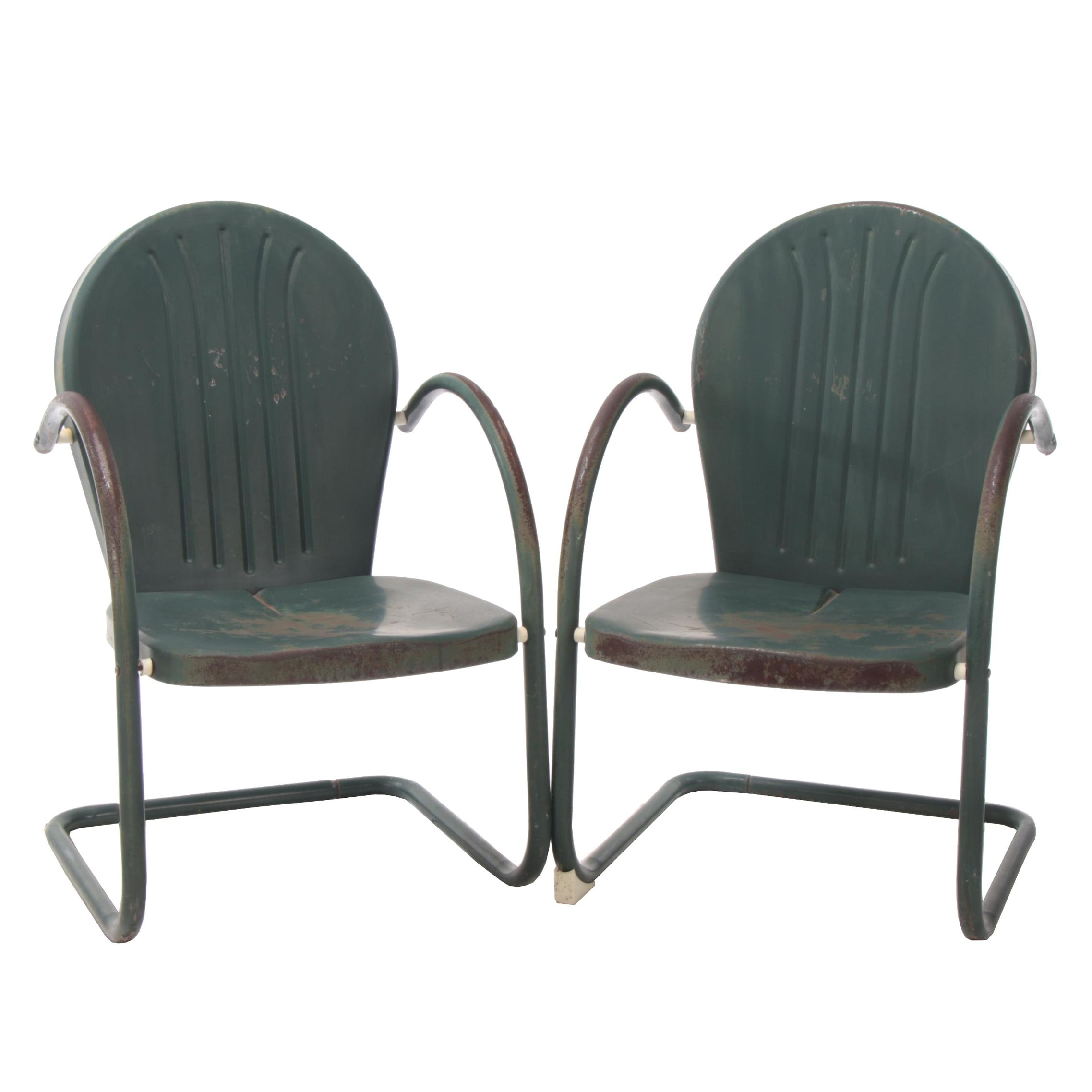 Painted Metal Patio Chairs, Mid to Late 20th Century