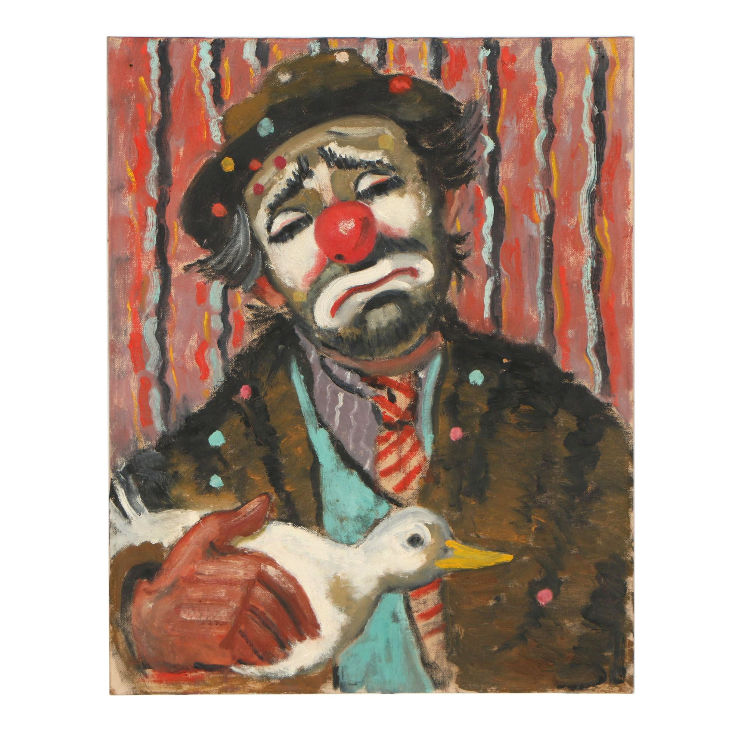Mid 20th Century Oil Painting of a Clown