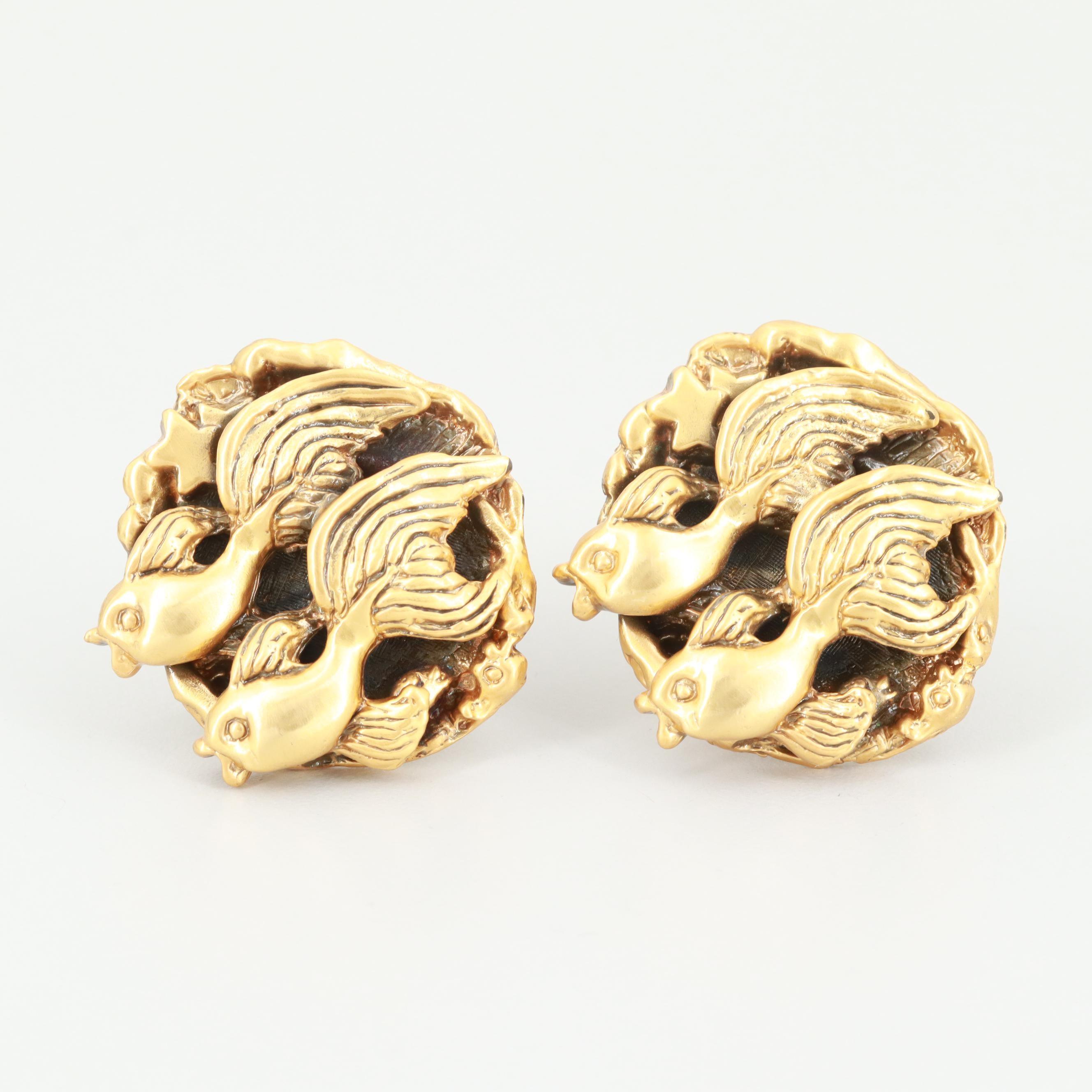 Tortolani Gold Tone Pisces Zodiac Cufflinks