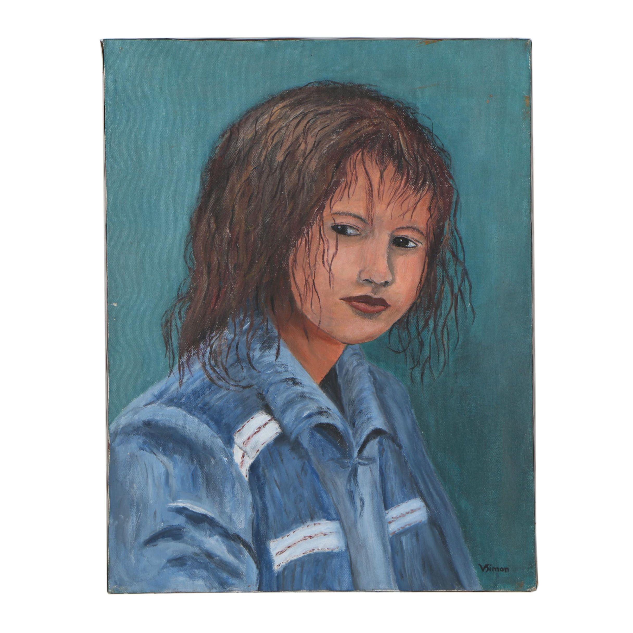 V. Simon Portrait Acrylic Painting of Young Woman