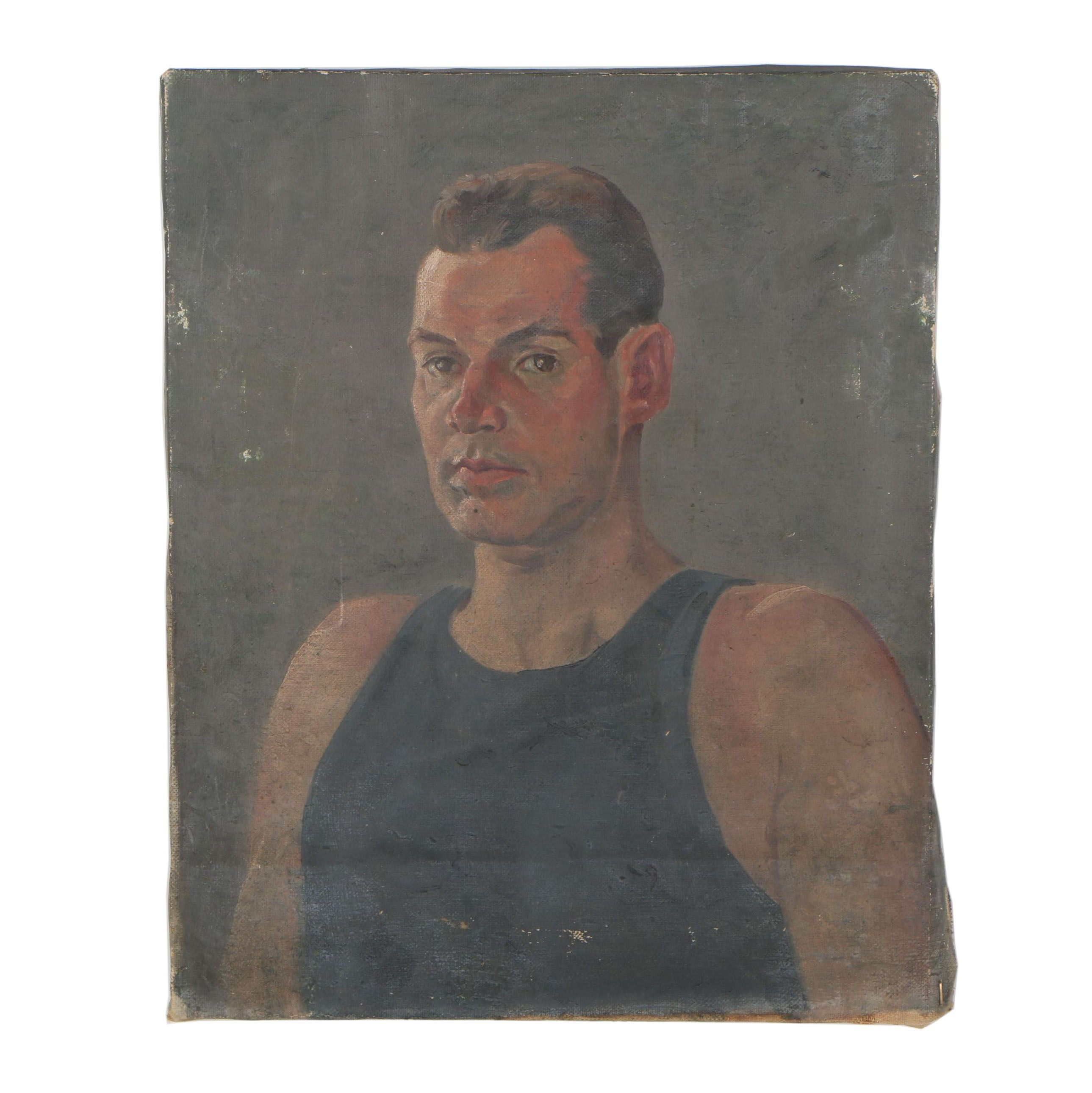 Mid 20th Century Portrait Oil Painting of Man