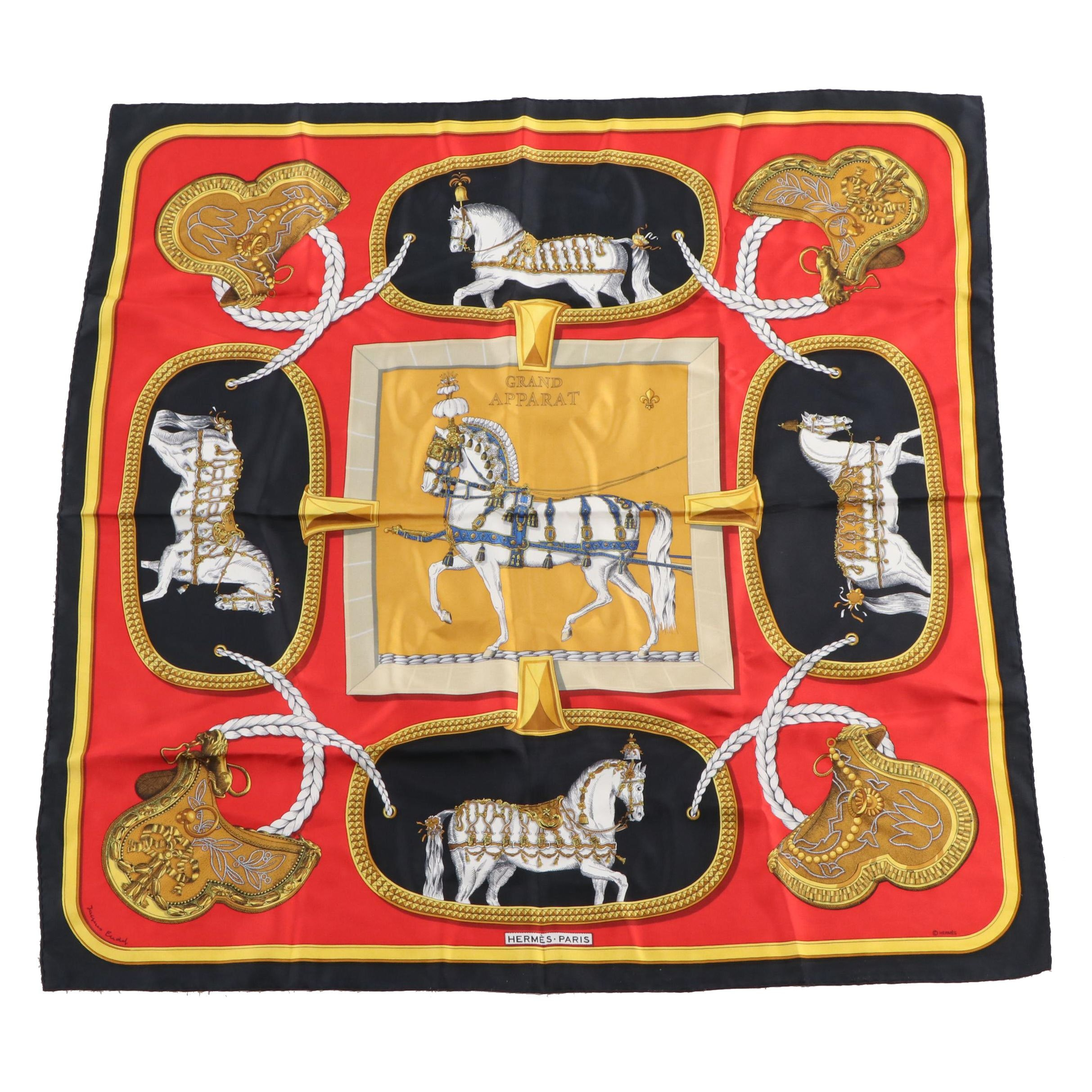 "Hermès Paris ""Grand Apparat"" Silk Scarf by Jacques Eudel, 1962 Vintage"