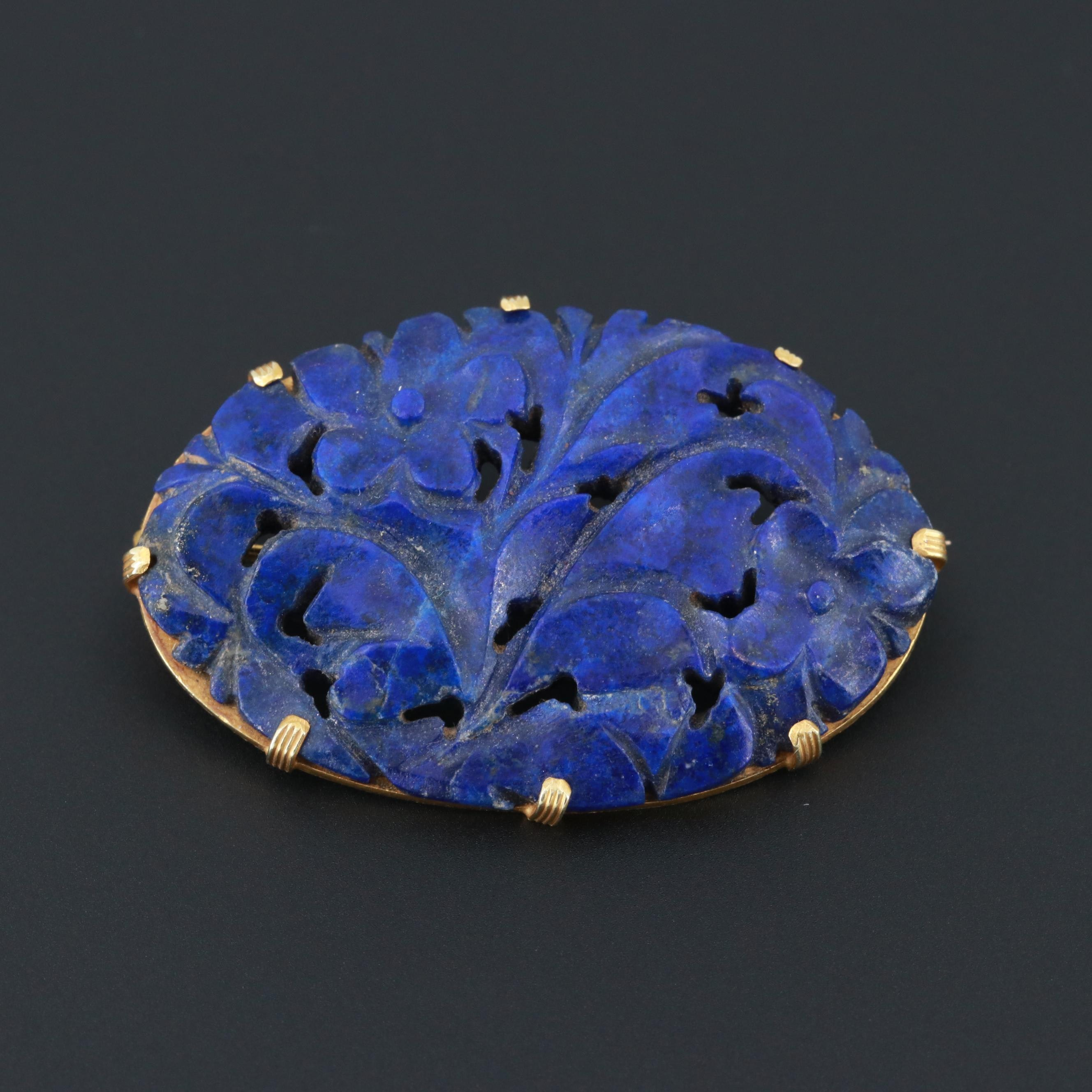 14K Yellow Gold Lapis Lazuli Carved Floral Brooch