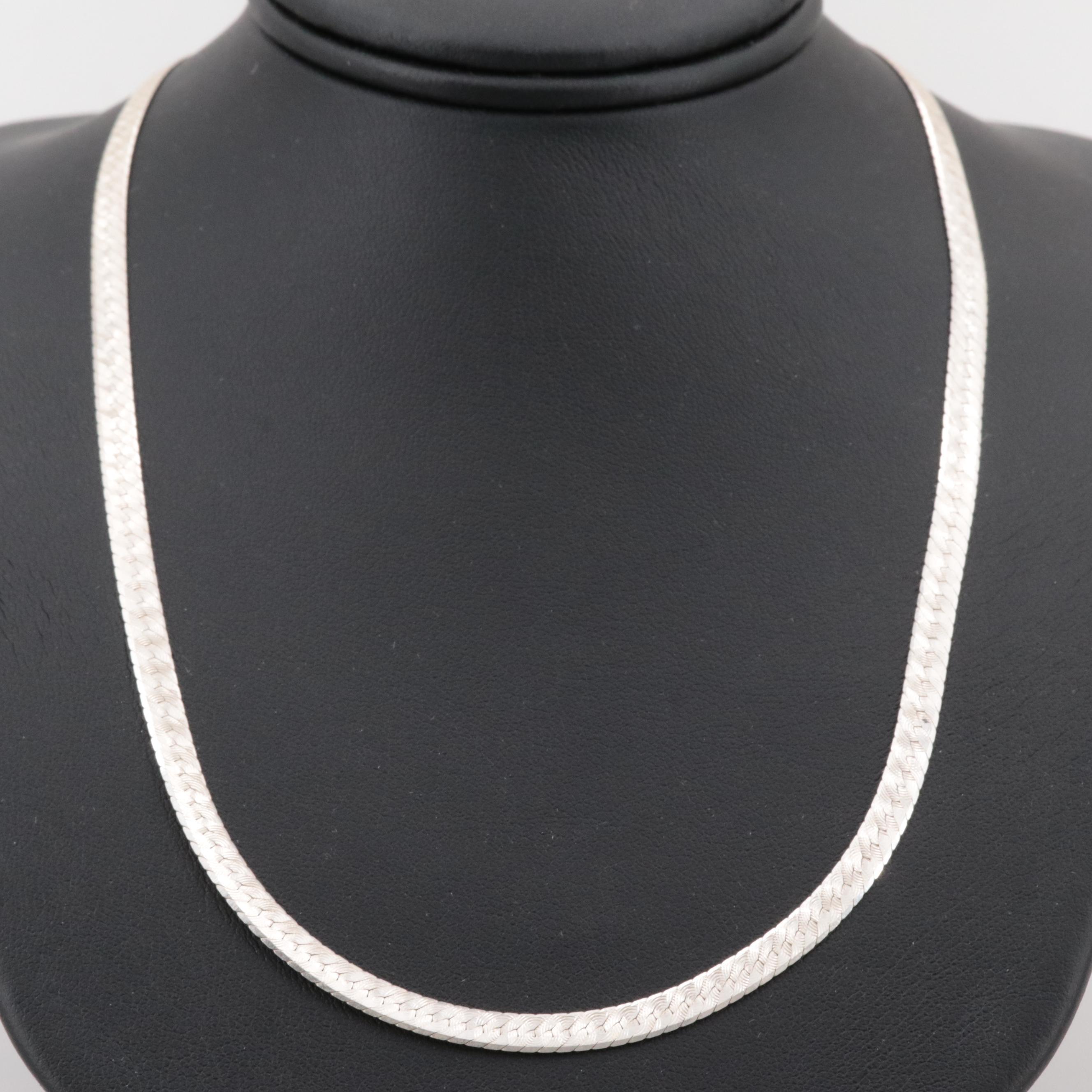 Sterling Silver Engraved Herringbone Link Necklace