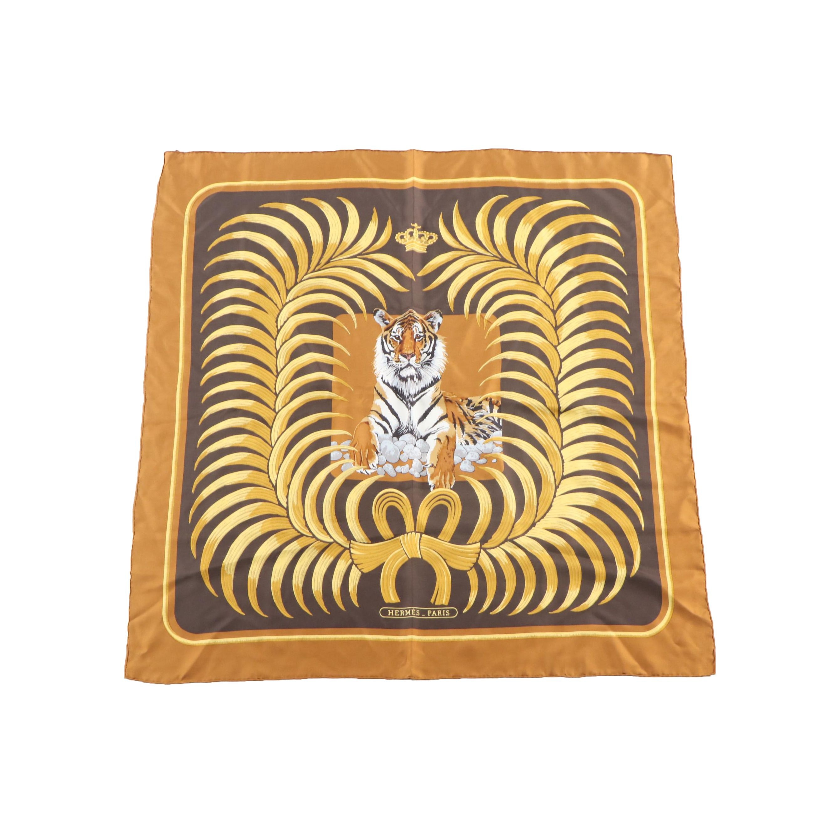 "Hermès Paris ""Tigre Royal"" Silk Scarf by Christiane Vauzelles"