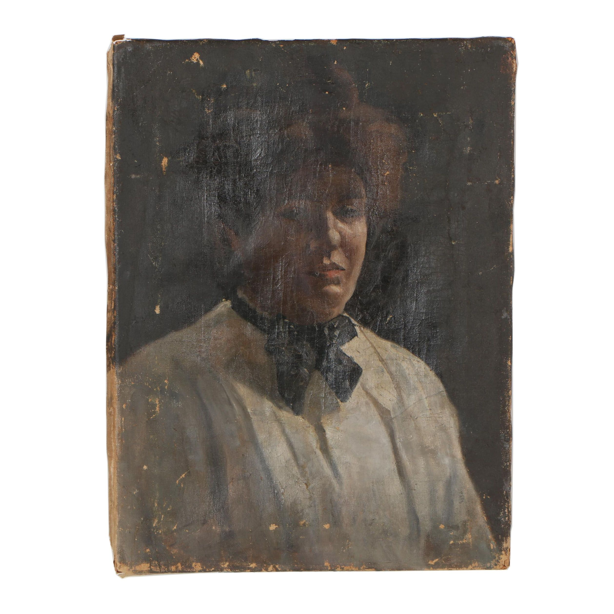 Late 19th Century Portrait Oil Painting of Woman