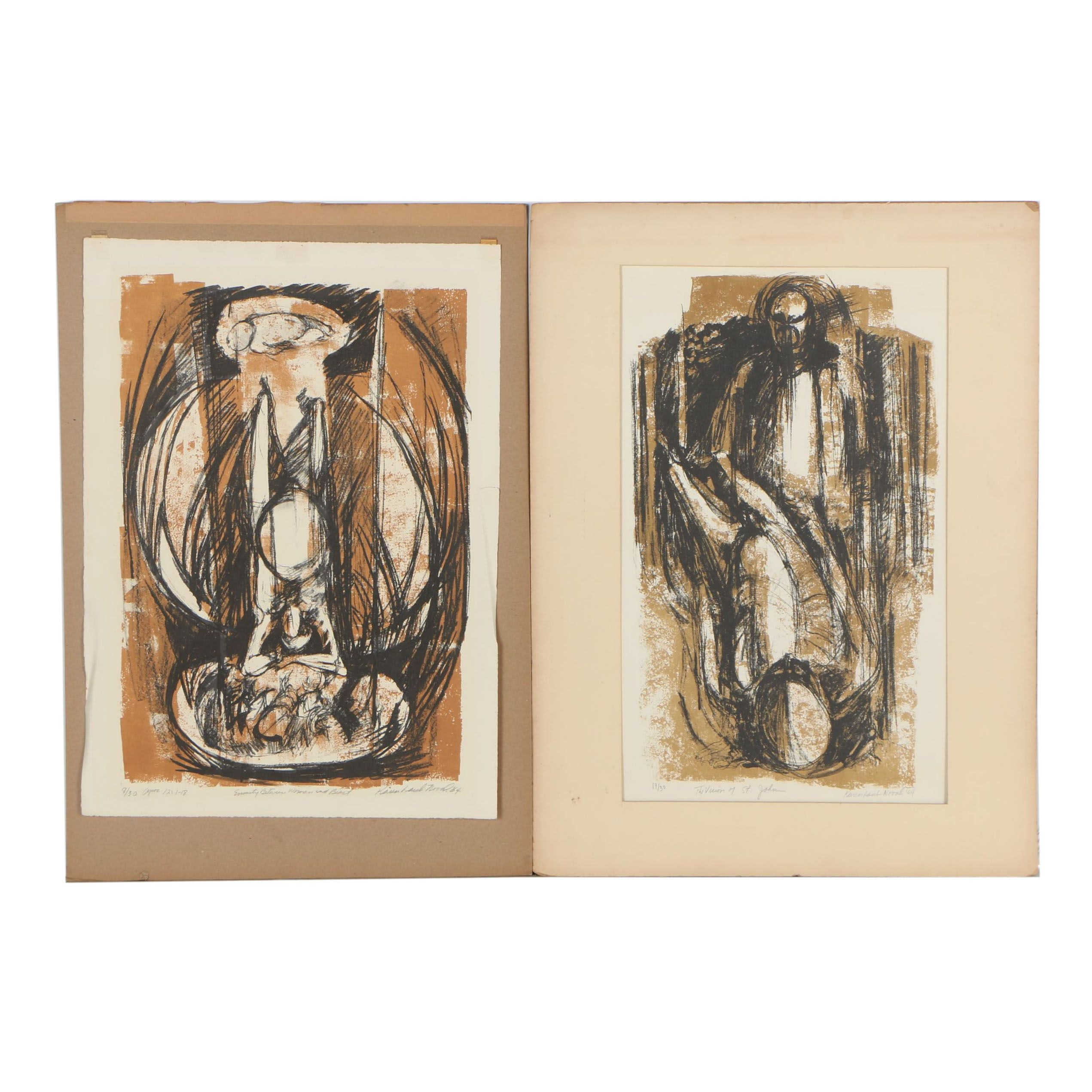 Karen Laub-Novak 1964 Abstract Lithographs
