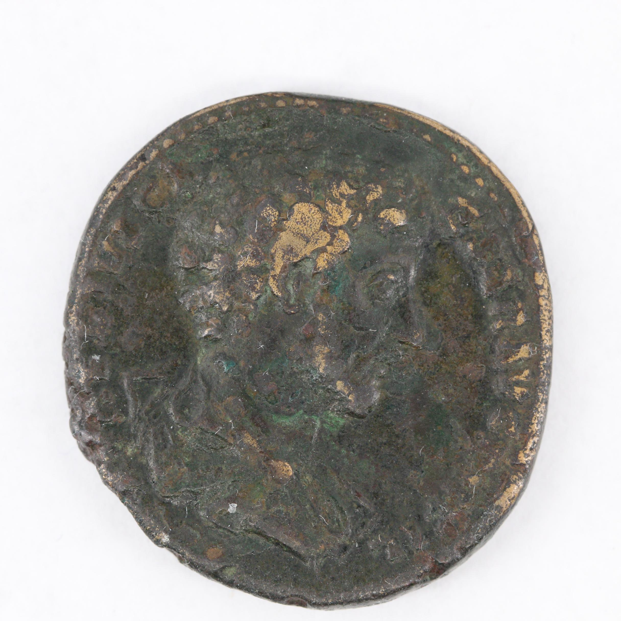 Ancient Roman Imperial Marcus Aurelius AE Sestertius Coin, Ca. 161 A.D.