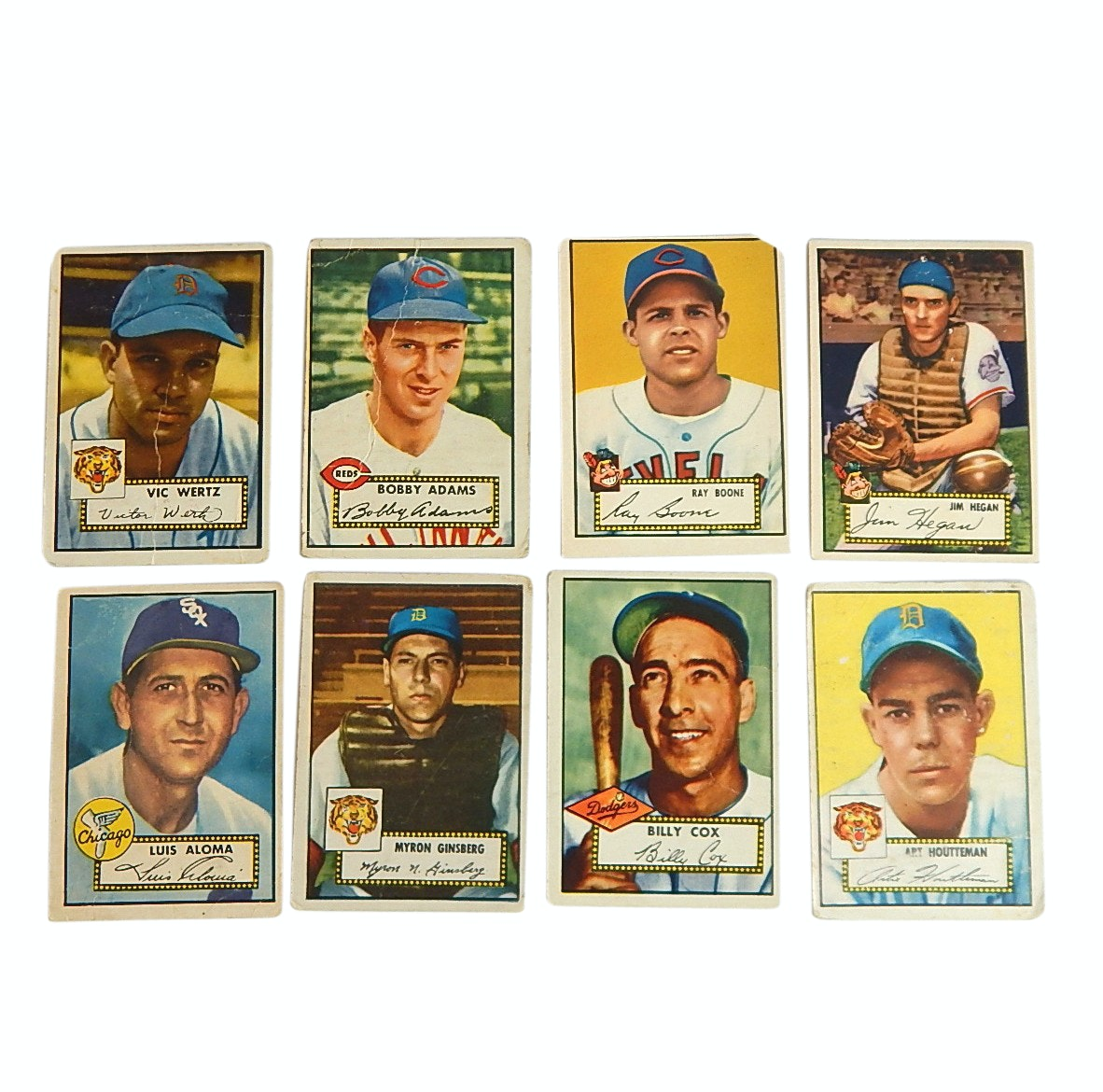 1952 Topps Baseball Cards with Wertz, Adams, Boone, Hegan, Cox and More