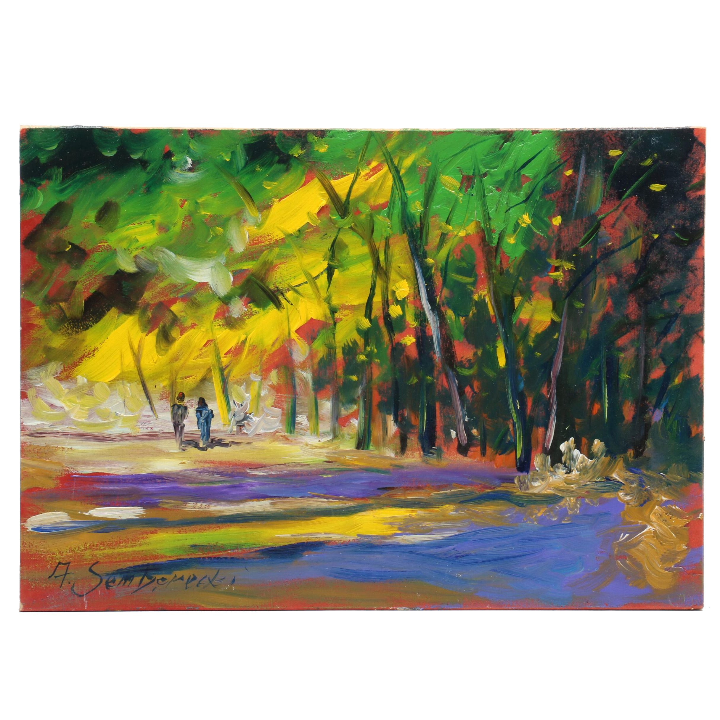 "Andrew Semberecki Oil Painting ""Walk in the Park"""