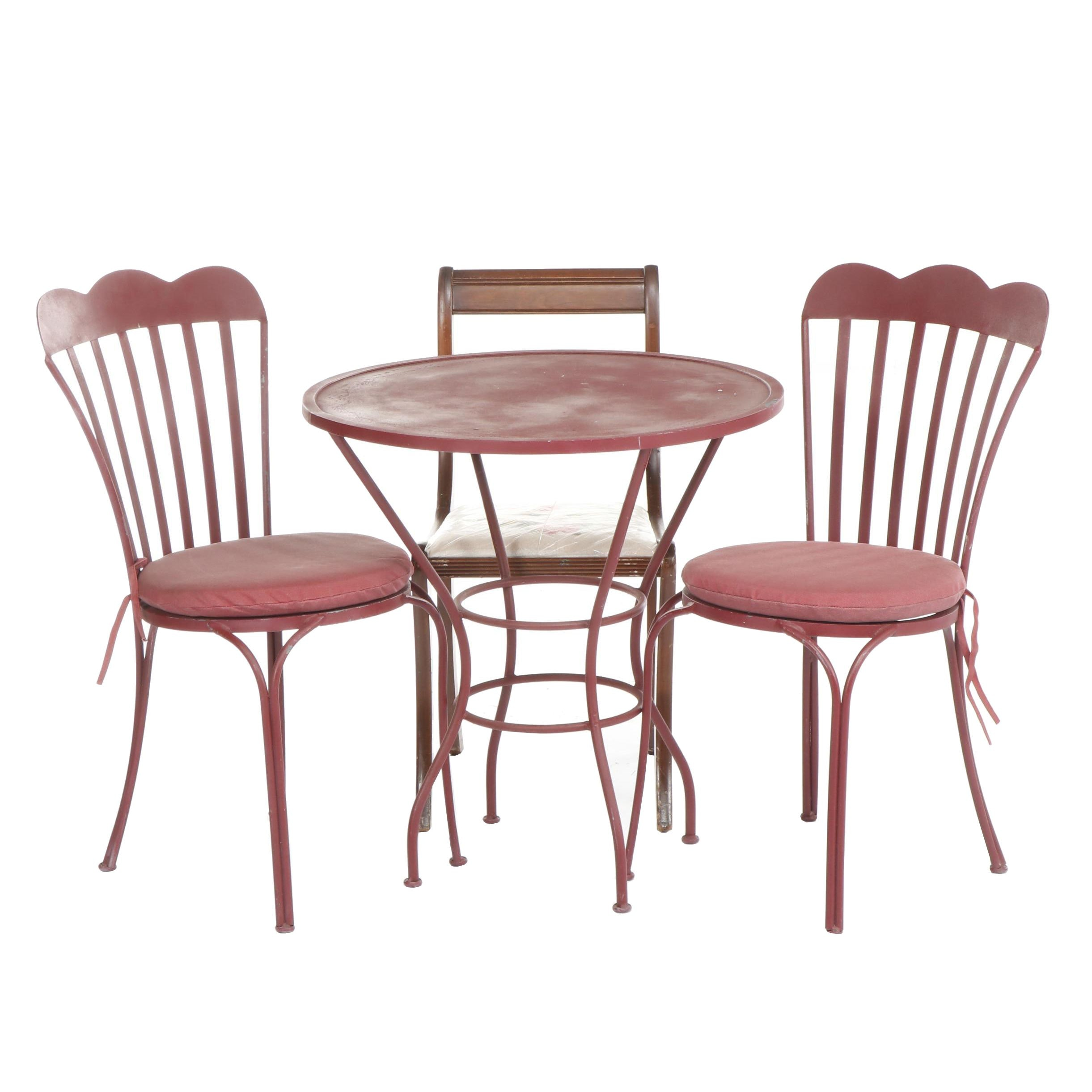 Red Wrought Iron Patio Table and Pair of Matching Chairs