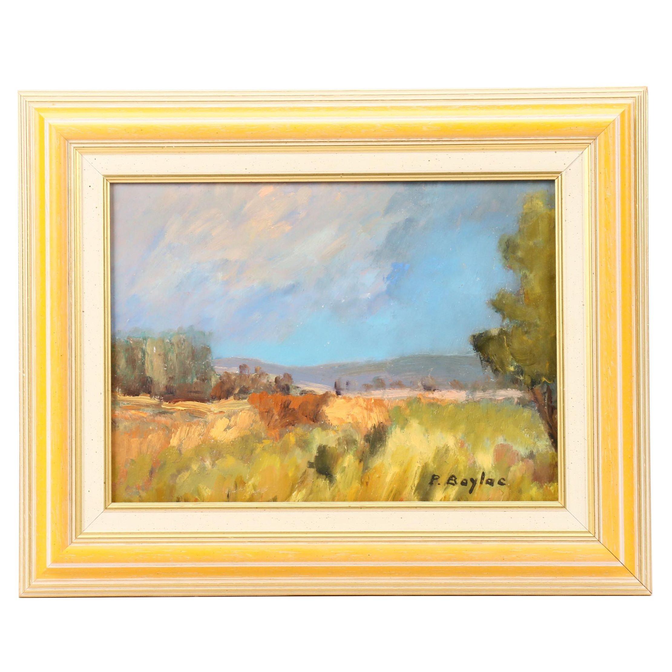 """Pierre Baylac Oil Painting """"La Côte Roannaise"""""""