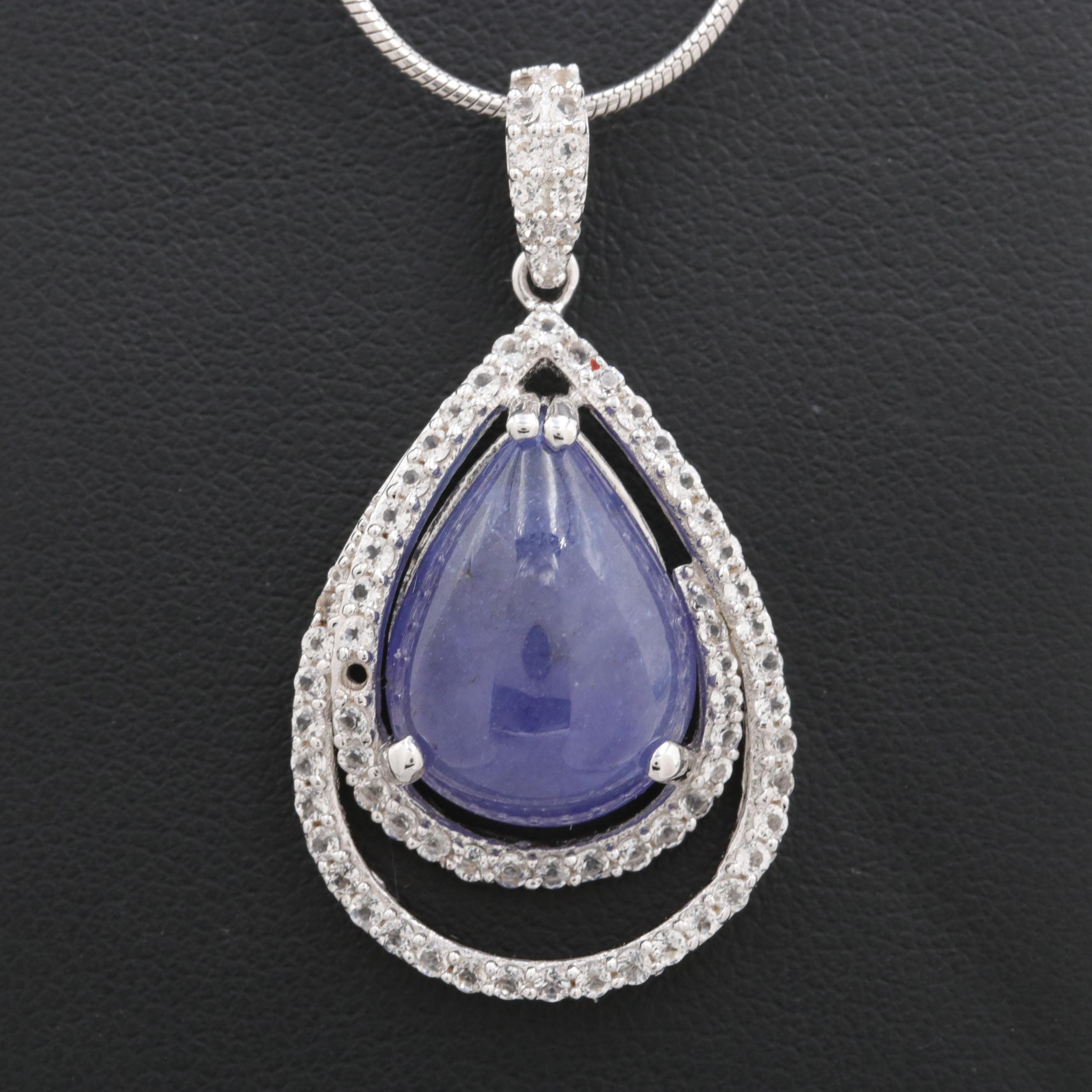 Sterling Silver Tanzanite and White Topaz Drop Pendant Necklace