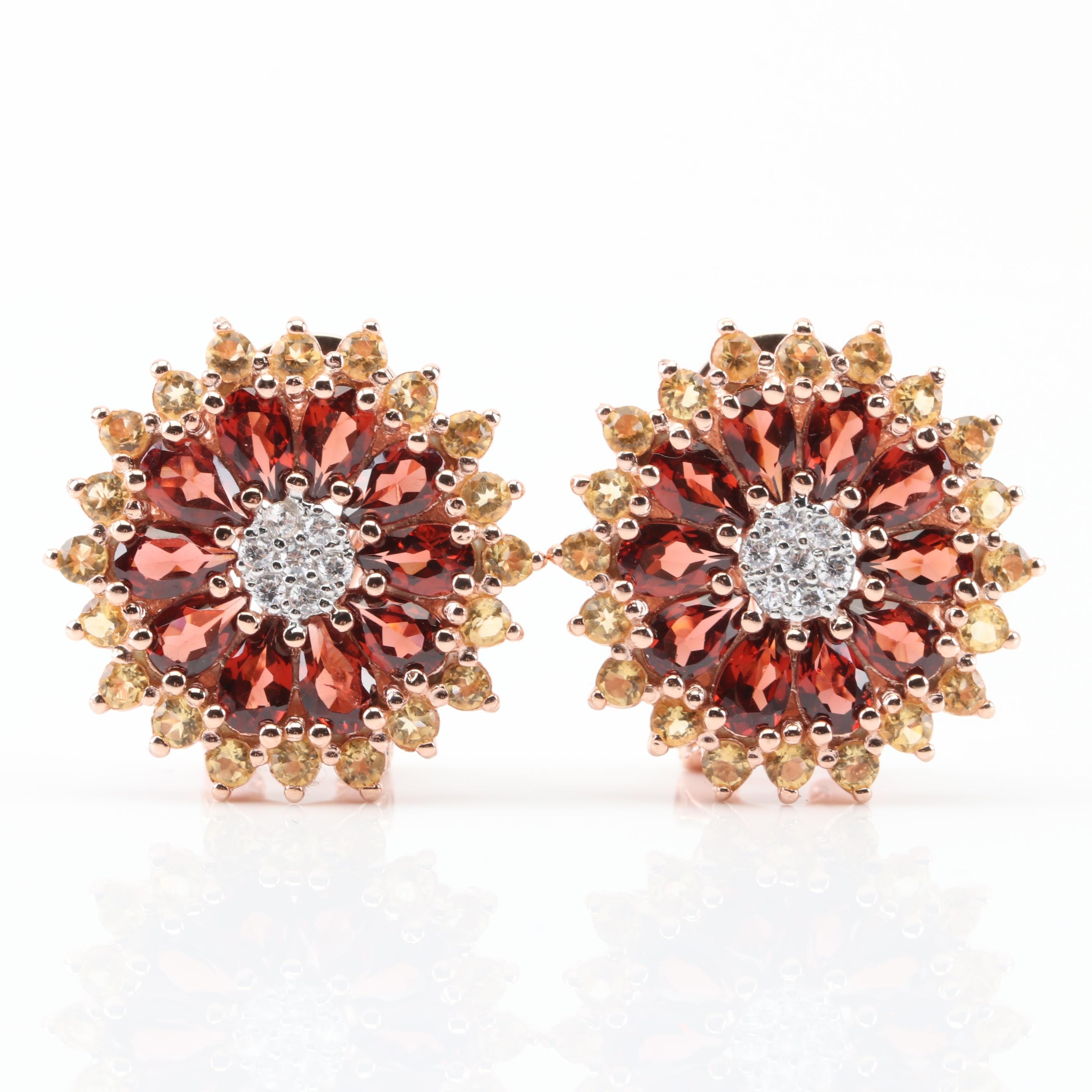 Sterling Silver Garnet and Citrine Flower Earrings with Rose Gold Wash